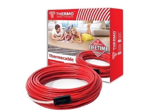 Комплект без регулятора Thermo SVK-20 012-0250Нагревательные кабели<br>Известная торговая марка Thermo разработала высокотехнологичный греющий кабель для организации системы теплого пола. Модель SVK-20 012-0250 может обслуживать до 1,8 квадратных метров свободной площади. Стоит отметить, что жилы кабеля имеют надежную изоляцию, которая прекрасно противостоит воздействию высоких температур.<br>Особенности и преимущества кабельных теплых полов серии SVK от компании Thermo:<br><br>двужильный экранированный нагревательный кабель;<br>укладка нагревательного кабеля при проектировании теплых полов;<br>использование  в системах антиобледенения кровли;<br>подогрев грунта в оранжереях и  зимних садах  загородного дома;<br>использование греющего кабеля в системах подогрева наружных площадей, ступеней;<br>проектирование электрического отопления гаражей, складов, холодильных камер;<br>поддержание рабочих температур трубопроводов, цистерн;<br>внешняя изоляция ПВХ, устойчивая к ультрафиолету;<br>дополнительный многослойный алюминиевый экран, выполняющий функции электрозащиты, обеспечивающий равномерное распределение тепла и герметичность от попадания влаги;<br>полиэфирная пленка, стекловолокно;<br>внутренняя изоляция токоведущих проводников из силиконовой резины, способной сохранять свои характеристики в широком диапазоне температур: от -60 до +2000С.<br><br>Комплект без регулятора включает в себя:<br><br>нагревательный кабель Thermo SVK;<br>монтажную ленту для крепления кабеля к бетонному основанию;<br>изолирующую гофрированную трубку для термодатчика;<br>инструкцию на русском языке.<br><br><br>Электрический теплый пол от компании Thermo   это качество и надежность. Компания-производитель дает бессрочную гарантию на свои кабельные системы теплых полов, что является лучшим показателем их долговечности. Конструкция греющих кабелей уникальна, поэтому сфера применения такого оборудования весьма и весьма широка, причем эксплуатировать его можно как в бытовых, так и в промышленных целя