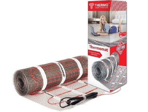 Комплект без регулятора Thermo ТVK-180 1,5 м.квНагревательные кабели<br>Термомат с большой удельной мощностью &amp;laquo;ТVK-180 1,5 м.кв&amp;raquo; &amp;ndash; это разработка торговой марки Thermo, предназначенная для холодных помещений. Данное оборудование гарантирует эффективный, экономичный обогрев и полную безопасность при работе. Укладывается такой теплый пол в плиточный клей и подключается к терморегулятору (приобретается отдельно).<br>Особенности и преимущества теплых полов серии Thermomat TVK от компании Thermo:<br><br>готовые решения под любую площадь поверхности;<br>укладка в слой плиточного клея;<br>двужильный кабель;<br>отсутствие электромагнитных полей;<br>управление уровнем нагрева мата с точностью до 1 &amp;deg;С;<br>5 слоев изоляции:<br><br><br>внутренняя из тефлона;<br>мононити из стекловоокна;<br>многожильный проводник заземления из луженой меди;<br>алюминиевая фольга;<br>внешняя оболочка их ПВХ;<br><br><br>не боится влаги (может работать даже в воде);<br>универсальный (может использоваться в помещениях любого типа);<br>простая установка, под любое покрытие.<br><br>Комплект без регулятора включает в себя:<br><br>нагревательный мат Thermomat;<br>изолирующую гофрированную трубку для термодатчика;<br>инструкцию на русском языке.<br><br><br>Thermomat &amp;ndash; это семейство нагревательных матов для организации теплого пола, разработанное известным шведским брендом Thermo. Серия включает в себя два типа термоматов разной удельной мощности: 130,0 Вт/кв.м. &amp;ndash; для обогрева стандартных помещений, а также 180,0 Вт/кв.м. &amp;ndash; для холодных помещений. Одна из главных отличительных особенностей &amp;ndash; это официальная бессрочная гарантия, которая является самым надежным показателем высокого качества продукции. Стоит отметить, что вот уже два десятка лет бренд Thermo разрабатывает и производит теплые полы. За это время компания успела выйти на мировой рынок и стать одним из лидеров в этой сфере. Их отопительные&amp;nbsp; системы просто не и