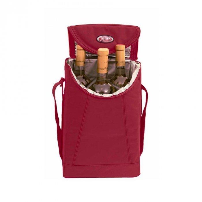 Сумка-холодильник Thermos Wine cooler for 3 bottleСумки-холодильники<br>Темосумка модели Thermos (Термос) Wine cooler for 3 bottle предназначена для транспортировки трех емкостей с жидкостью. Термоизоляционный слой позволяет сохранить исходную температуру воды, вина или других напитков. Производитель продумал и безопасность перевозки бьющихся элементов в сумке, поэтому снабдил емкость специальными съемными перегородками.<br>Основные достоинства рассматриваемой модели сумки-термоса от Thermos:<br><br>Изолирующий слой позволяет сохранять свежесть и температуру продуктов.<br>Внешняя ткань устойчива к загрязнениям и легка в уходе, внутренняя поверхность гигиенична и непромокаема.<br>Застежка молния создает необходимые условия для изоляции.<br>Прочные ручки.<br>Устойчивое дно сумки выполнено из материала, защищающего от пачкающих поверхностей.<br>Удобная молния для быстрого доступа.<br><br>Сумки-термосы от торговой марки Thermos станут для вас отличными спутницами в путешествии или на пикнике, где они просто незаменимы благодаря своим эксплуатационным свойствам и пользовательским характеристикам. Данные аксессуары помимо того, что имеют большое количество дополнительных отделений, карманов для всяких мелочей и косметичку, при хранении удобно складываются.<br><br>Страна: Великобритания<br>Объем, л: 8<br>Мощность, Вт: Нет<br>Питание, В: Нет<br>Темп. max, С: None<br>Темп. min, С: None<br>Габариты ВxШxД, мм: 170х210х320<br>Вес, кг: 1<br>Гарантия: 6 месяцев<br>Кабель питания: Нет<br>Назначение: Сумкахолодильник