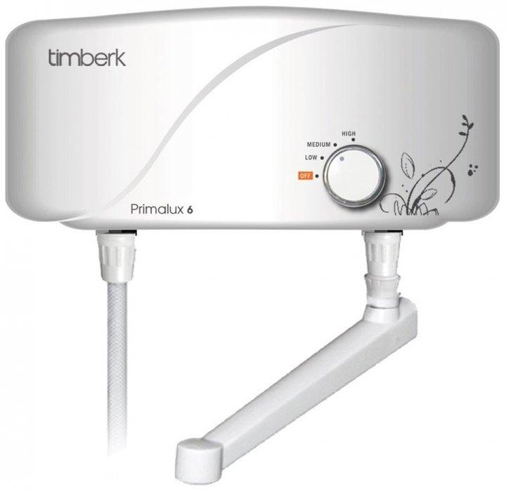 Водонагреватель Timberk WHEL-6 OC Primalux6 кВт<br>Электрический проточный водонагреватель Timberk WHEL-6 OC Primalux предназначен для быстрого нагрева нужного количества воды для дома или квартиры. Представленная модель производительна и компактна, надежна и безопасна. Вы хотите предать Вашему интерьеру определенной уникальности, то представленная модель водонагревательной техники будет наилучшим вариантом для осуществления задуманного. Современный внешний вид, новые технологии, влагозащищенный корпус и ряд других преимуществ превзойдут все ваши ожидания.<br> <br>Основные характеристики представленной модели:<br><br>трубчатый нагревательный элемент;<br>элементарное управление;<br>качественное защитное эмалированное покрытие;<br>высокоточное термоизоляционное запенивание;<br>защита от замерзания;<br>высокий класс защиты IP24;<br>высокая эффективность работы;<br>компактные размеры;<br>высокое качество комплектующих элементов;<br>высокий уровень безопасности;<br>автоматическое отключение при отсутствии воды;<br>плавная регулировка мощности;<br>современный дизайн;<br>минимальное потребление электричества;<br>гарантия качества от производителя;<br>комплектация: кран;<br>соответствие сертификатам ISO 9001, ISO 14000.<br><br> <br>Проточные водонагреватели фирмы Timberk призваны доказать потребителям, что качественная техника не обязательно должна стоить дорого. Более 35 моделей, различных по мощности и комплектации и составляющих предлагаемых компанией 8 серий, несомненно, приятно удивят вас уровнем цен, который поддерживает на продукцию своей марки компания Timberk. Линейка водонагревателей PRIMALUX отличается высокой эффективностью и технологичностью. Кроме того, все приборы данной серии удачно сочетают в себе компактность и современный дизайн, качество и доступную цену.<br><br><br>Страна: Швеция<br>Производитель: Китай<br>Темп. нагрева, С: 60<br>Способ нагрева: электрический<br>Производительность: 4 л/мин.<br>Мощность, кВт: 5,5<br>Защита от перегрева: да<br>LCD дисплей