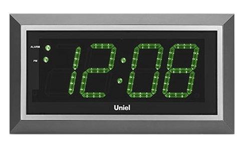 Часы без проекции Uniel BV-11GSL (UTL-11G)Часы без проекции<br>BV-11GSL &amp;ndash; это электронные настенные часы, разработанные брендом UNIEL. Устройство оснащено кварцевым генератором, управляется дистанционно с помощью удобного пульта, а в качестве источника питания использует обычную бытовую электросеть. Дисплей гаджета имеет светодиодную подсветку приятного зеленого цвета. Будильник позволяет точно настроить время сигнала, а также несколько раз отложить его.<br>Основные преимущества использования рассматриваемой модели настенных часов от торговой марки UNIEL:<br><br>Новинка сезона!<br>Настенные часы с адаптером и пультом управления.<br>Светодиодный дисплей.<br>Часы, будильник с функцией snooze.<br>Кварцевый генератор.<br>Пульт дистанционного управления.<br>Питание: 220В, 50Гц.<br><br>Подбираете настенные часы? Обратите внимание на линейку таких устройств от компании UNIEL. Настенные часы от этого бренда сразу бросаются в глаза своим дизайном: их облик &amp;ndash; это строгая геометрия, которая сочетает в себе эргономичность и неизменный стиль, приправлена нотками минимализма и смягчена приятной светодиодной подсветкой. Модельный ряд серии достаточно широк: здесь покупатели найдут и устройства, которые показывают только время, и гаджеты с дополнительным функционалом, таким как индикация температуры внутри помещения.<br><br>Страна: Китай<br>Питание, В: 220 В<br>Тип батарейки: None<br>Колво батареек: None<br>Адаптер к 220В: Есть<br>С будильником: Да<br>Радиодатчик: None<br>С метеостанцией: None<br>В помещении t, С: Нет<br>За окном t, С: Нет<br>Влажность в помещении: Нет<br>Влажность за окном: Нет<br>Давление: Нет<br>Прогноз погоды: Нет<br>Габариты, мм: 430x230x33<br>Вес, кг: 1<br>Гарантия: 1 год<br>Ширина мм: 230<br>Высота мм: 430<br>Глубина мм: 33