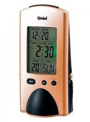 Часы без проекции Uniel UTI-74BzЧасы без проекции<br>UTI-74Bz   это уникальные настольные часы, разработанные торговой маркой UNIEL. Представленный гаджет может стать отличным подарком для ценителей функциональности и лаконичности: здесь есть и фонарик, и календарь, и будильник с функцией отложенного сигнала, и даже индикатор комнатной температуры. А питание происходит от пяти батареек  микропальчикового  типа.<br>Основные преимущества использования рассматриваемой модели многофункциональных электронных часов от торговой марки UNIEL:<br><br>Стильный эргономичный дизайн.<br>Компактные размеры конструкции.<br>Часы стильные и современные.<br>Уникальная функция   фонарик.<br>Лучший подарок.<br>Подсветка дисплея.<br>Будильник с отложенным сигналом.<br>Календарь.<br>Измерение комнатной температуры.<br>Питание 5*ААА.<br>Высокое качество и комфорт в управлении.<br><br>Линейка многофункциональных часов от известной торговой марки UNIEL, несомненно, придется по вкусу всем любителям технологий. Эти устройства представляют собой современные гаджеты, которые оснащены не только индикатором точного времени, но и еще множеством дополнительных возможностей. Например, это функция  Snooze  у будильника. Дословно  Snooze  переводится, как  вздремнуть . То есть будильник позволяет несколько раз откладывать сигнал, что весьма понравится любителям подольше полежать в кровати по утрам.<br><br>Страна: Китай<br>Питание, В: Батарейки<br>Тип батарейки: AAA<br>Колво батареек: 5<br>Адаптер к 220В: Нет<br>С будильником: Да<br>Радиодатчик: None<br>С метеостанцией: Да<br>В помещении t, С: Да<br>За окном t, С: Нет<br>Влажность в помещении: Нет<br>Влажность за окном: Нет<br>Давление: Нет<br>Прогноз погоды: Нет<br>Габариты, мм: 715x500x1327<br>Вес, кг: 1<br>Гарантия: 1 год<br>Ширина мм: 500<br>Высота мм: 715<br>Глубина мм: 1327