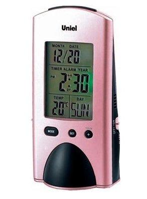 Часы без проекции Uniel UTI-74LЧасы без проекции<br>Торговая марка UNIEL   один из известных отечественных производителей   представляет функциональные настольные часы модели UTI-74L. Помимо индикатора точного времени гаджет также имеет встроенный фонарик, будильник с возможностью отложить сигнал, календарь и может измерять температуру внутри помещения. Компактный корпус необычной формы в розовом цвете легко разместиться на прикроватной тумбочке.<br>Основные преимущества использования рассматриваемой модели многофункциональных электронных часов от торговой марки UNIEL:<br><br>Стильный эргономичный дизайн.<br>Компактные размеры конструкции.<br>Часы стильные и современные.<br>Уникальная функция   фонарик.<br>Лучший подарок.<br>Подсветка дисплея.<br>Будильник с отложенным сигналом.<br>Календарь.<br>Измерение комнатной температуры.<br>Питание 5*ААА.<br>Высокое качество и комфорт в управлении.<br><br>Линейка многофункциональных часов от известной торговой марки UNIEL, несомненно, придется по вкусу всем любителям технологий. Эти устройства представляют собой современные гаджеты, которые оснащены не только индикатором точного времени, но и еще множеством дополнительных возможностей. Например, это функция  Snooze  у будильника. Дословно  Snooze  переводится, как  вздремнуть . То есть будильник позволяет несколько раз откладывать сигнал, что весьма понравится любителям подольше полежать в кровати по утрам.<br><br>Страна: Китай<br>Питание, В: Батарейки<br>Тип батарейки: AAA<br>Колво батареек: 5<br>Адаптер к 220В: Нет<br>С будильником: Да<br>Радиодатчик: None<br>С метеостанцией: Да<br>В помещении t, С: Да<br>За окном t, С: Нет<br>Влажность в помещении: Нет<br>Влажность за окном: Нет<br>Давление: Нет<br>Прогноз погоды: Нет<br>Габариты, мм: 715x500x1327<br>Вес, кг: 1<br>Гарантия: 1 год<br>Ширина мм: 500<br>Высота мм: 715<br>Глубина мм: 1327