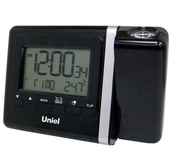 Проекционные часы Uniel UTP-80Красная проекция<br>UTP-80 &amp;ndash; это настольная модель компактных часов, которая помимо времени может показывать и температуру. Более того, и время и температурный режим в помещении агрегат может проецировать на потолок или стену. Гаджет также оснащен двумя будильниками с возможностью отложенного сигнала и календарем. Интерфейс часов может быть представлен в пяти языках, которые выбирают в меню с интуитивно понятным интерфейсом.<br>Основные преимущества использования рассматриваемой модели электронных часов от торговой марки UNIEL:<br><br>Стильный эргономичный дизайн.<br>Компактные размеры конструкции.<br>Часы с прожектором.<br>Два вида прожектора: текущее время или температура.<br>Прожектор красного цвета с подстройкой фокуса и вращением на 180&amp;deg;.<br>2 вида электронных часов с кварцевой стибилизацией.<br>2 будильника с повторяющимся сигналом.<br>Календарь.<br>Измерение температуры.<br>12/24 формат времени.<br>5 языков для дней недели.<br>Сетевой адаптер 220В.<br>Резервное питание 3*АА.<br>Высокое качество и комфорт в управлении.<br><br>Компания UNIEL разработала линейку удобных часов, которые оснащены функцией проецирования изображения на любую поверхность: это может быть и стена, и потолок. Такое решение очень удобно для пользователя, ведь точное время можно увидеть из любого уголка комнаты. Кроме того, такие устройства, как правило, оснащены целым рядом дополнительных функциональных возможностей, очень полезных и удобных. Практически все из них оборудованы будильниками с возможностью отложить сигнал, а также датчиками температуры. В арсенале их преимуществ также качественное исполнение и неизменно стильный дизайн. Такие гаджеты, несомненно, могут стать отличным подарком.<br><br>Страна: Китай<br>Питание, В: Сеть/Бат.<br>Тип батарейки: AA<br>Колво батареек: 3<br>Адаптер к 220В: Есть<br>С будильником: Да<br>Радиодатчик: None<br>С метеостанцией: Да<br>В помещении t, С: Да<br>За окном t, С: Нет<br>Влажность в помещении: Нет<b