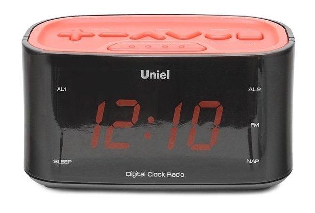 Часы без проекции Uniel UTR-33RRKЧасы без проекции<br>Новинка от компании UNIEL &amp;ndash; настольные часы с радиобудильником модели UTR-33RRK. Работает данный гаджет от обычной бытовой розетки 220В, а в комплекте поставки предусмотрен адаптер для подключения к сети. Среди прочих преимуществ стоит выделить большие цифры со светодиодной подсветкой, радиоприемник и удобную панель управления с дружественным интерфейсом.<br>Основные преимущества использования рассматриваемой модели электронных часов с радио от торговой марки UNIEL:<br><br>Стильный эргономичный дизайн.<br>Компактные размеры конструкции.<br>Часы.<br>Будильник с отложенным сигналом.<br>Удобная панель настройки.<br>Цифровой радиоприемник.<br>Большие цифры.<br>Работает от адаптера.<br>Высокое качество и комфорт в управлении.<br><br>Торговая марка UNIEL &amp;ndash; это прекрасно себя зарекомендовавший, надежный партнер и поставщик качественного оборудования. Компания разработала семейство современных удобных часов, оснащенных радиоприемником. Помимо индикатора точного времени эти гаджеты оборудованы будильниками, которые могут в качестве звукового сигнала использовать любую радиостанцию. Более того, практически все модели имеют память на несколько радиостанций. Также стоит отметить, что устройства выполнены в стильном современном дизайне, который сможет органично вписаться в интерьерное решение и гостиной, и спальни.<br><br>Страна: Китай<br>Питание, В: Сеть/Бат.<br>Тип батарейки: ААА<br>Колво батареек: 2<br>Адаптер к 220В: Есть<br>С будильником: Да<br>Радиодатчик: Да<br>С метеостанцией: None<br>В помещении t, С: Нет<br>За окном t, С: Нет<br>Влажность в помещении: Нет<br>Влажность за окном: Нет<br>Давление: Нет<br>Прогноз погоды: Нет<br>Габариты, мм: None<br>Вес, кг: 1<br>Гарантия: 1 год