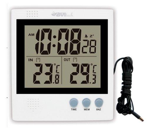 Цифровая метеостанция Uniel UTT-91Без радиодатчика<br>Электронный термометр UNIEL (Юниель) UTT-91 &amp;mdash; это небольшое устройство с сенсорным датчиком и возможностью установить будильник, которое станет решением в тех ситуациях, когда вам необходимо точно узнать температуру внутри помещения или снаружи. Минимальное и максимальное значение температурного показателя за сутки можно зафиксировать нажатием одной кнопки.<br>Основные преимущества использования рассматриваемой модели настольной электронной метеостанции от торговой марки UNIEL:<br><br>Невероятно стильный современный внешний облик, компактные размеры.<br>Новинка сезона!<br>Стильный эргономичный дизайн.<br>Диапазон измерения:&amp;nbsp; станция -50 C&amp;deg; до +70C&amp;deg;<br>Информация на дисплее: часы формат 12/24ч / температура: внутри и снаружи / мин. макс. за сутки<br>Функция Lo - Hi: определение минимальных и максимальных значений температур<br>Индикация: индикатор образования наледи<br>Будильник: с повторяющимся сигналом (функция Snooze)<br>Высокое качество и комфорт в управлении.<br><br>Цифровые метеостанции от компании UNIEL &amp;ndash; это современные приборы, которые помогут пользователям оставаться в курсе текущего времени, влажности воздуха и в доме и на улице, его температуры и атмосферного давления. Ассортимент моделей широк, благодаря чему можно выбрать прибор, которой способен отображать еще и прогноз погоды на ближайшее время в виде анимации. Стоит отметить, что устройства имеют стильный эргономичный дизайн, благодаря чему идеально впишутся в любой интерьер. &amp;nbsp;&amp;nbsp;<br><br>Страна: Китай<br>Диапазон темп. t, С: 50+70<br>Диапазон p, мм. рт. ст.: None<br>Диапазон rH, : None<br>Разрешение t, С: 0,1<br>Цвет корпуса: Белый<br>Питание, В: Батарейки<br>Колво батареек: 2<br>Тип батарейки: AAA<br>Адаптер к 220В: Есть<br>В комнате t, С: Да<br>За окном t, С: Да<br>Влажность в помещении: Нет<br>Влажность за окном: Нет<br>Давление: Нет<br>Прогноз погоды: Нет<br>Лунный календарь: Нет<br>