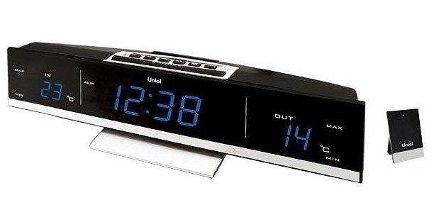 Часы без проекции Uniel UTV-41BЧасы без проекции<br>UTV - 41B   это компактная настольная метеостанция, разработанная компанией UNIEL. Устройство укомплектовано беспроводным уличным датчиком температуры, который передает сигнал на расстояние до тридцати метров. Помимо этого, гаджет также показывает температуры и внутри помещения, имеет индикацию точного времени и даже два будильника с функцией повторения сигнала.<br>Основные преимущества использования рассматриваемой модели домашней метеостанции от торговой марки UNIEL:<br><br>Стильный эргономичный дизайн.<br>Компактные размеры конструкции.<br>Метеостанция с беспроводным датчиком.<br>Циферблат - 0,9 дюйма (23мм) с регулируемой яркостью.<br>Беспроводной датчик (удаленность до 30 м).<br>Измерение комнатной и уличной температуры (до -50 град).<br>Часы, 2 будильника с повторяющимся сигналом.<br>Сетевой адаптер 230В.<br>Резервное питание 3*ААА.  <br>Высокое качество и комфорт в управлении.<br><br>Бренд UNIEL   поставщик качественного и надежного оборудования   разработал семейство настольных метеостанций в компактном корпусе. Эти гаджеты станут прекрасным выбором для метеозависимых людей: устройства не просто показывают температуру за окном, а могут прогнозировать погоду, информировать об уровне относительной влажности и даже атмосферном давлении, возможном гололеде и зоне комфортности. Все модели оснащены большими дисплеями, а многие из них еще и анимацией. Также стоит отметить, что все метеостанции имеют индикатор точного времени и будильник.<br><br>Страна: Китай<br>Питание, В: Сеть/Бат.<br>Тип батарейки: AAA<br>Колво батареек: 3<br>Адаптер к 220В: Есть<br>С будильником: Да<br>Радиодатчик: None<br>С метеостанцией: Да<br>В помещении t, С: Да<br>За окном t, С: Да<br>Влажность в помещении: Нет<br>Влажность за окном: Нет<br>Давление: Нет<br>Прогноз погоды: Нет<br>Габариты, мм: 285х55х65<br>Вес, кг: 1<br>Гарантия: 1 год<br>Ширина мм: 55<br>Высота мм: 285<br>Глубина мм: 65