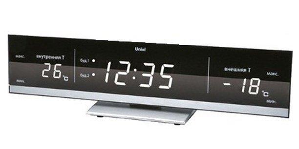 Часы без проекции Uniel UTV-41WЧасы без проекции<br>Компания UNIEL представляет новинку: компактную настольную метеостанцию модели UTV-41W. Широкий дисплей, черно-белая гамма, электронное управление, оригинальный дизайн   это далеко не все преимущества представленного устройства. Гаджет фиксирует температуру и снаружи, и внутри помещения, имеет индикацию времени и даже два будильника с возможностью повторения сигнала.<br>Основные преимущества использования рассматриваемой модели домашней метеостанции от торговой марки UNIEL:<br><br>Стильный эргономичный дизайн.<br>Компактные размеры конструкции.<br>Метеостанция с беспроводным датчиком.<br>Циферблат - 0,9 дюйма (23мм) с регулируемой яркостью.<br>Беспроводной датчик (удаленность до 30 м).<br>Измерение комнатной и уличной температуры (до -50 град).<br>Часы, 2 будильника с повторяющимся сигналом.<br>Сетевой адаптер 230В.<br>Резервное питание 3*ААА.  <br>Высокое качество и комфорт в управлении.<br><br>Бренд UNIEL   поставщик качественного и надежного оборудования   разработал семейство настольных метеостанций в компактном корпусе. Эти гаджеты станут прекрасным выбором для метеозависимых людей: устройства не просто показывают температуру за окном, а могут прогнозировать погоду, информировать об уровне относительной влажности и даже атмосферном давлении, возможном гололеде и зоне комфортности. Все модели оснащены большими дисплеями, а многие из них еще и анимацией. Также стоит отметить, что все метеостанции имеют индикатор точного времени и будильник.<br><br>Страна: Китай<br>Питание, В: Сеть/Бат.<br>Тип батарейки: AAA<br>Колво батареек: 3<br>Адаптер к 220В: Есть<br>С будильником: Да<br>Радиодатчик: None<br>С метеостанцией: Да<br>В помещении t, С: Да<br>За окном t, С: Да<br>Влажность в помещении: Нет<br>Влажность за окном: Нет<br>Давление: Нет<br>Прогноз погоды: Нет<br>Габариты, мм: 285x55x65<br>Вес, кг: 1<br>Гарантия: 1 год<br>Ширина мм: 55<br>Высота мм: 285<br>Глубина мм: 65
