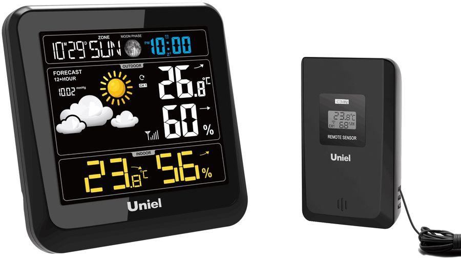 Проекционные часы Uniel UTV-64Часы без проекции<br>Хотите утром узнать прогноз погоды, не вставая с кровати? Тогда компактная настольная метеостанция UTV-64 от бренда UNIEL станет отличным приобретением! Гаджет оснащен анимированным дисплеем, на котором отображается информация о температуре за окном, наличии или отсутствии осадков, об атмосферном давлении и даже уровне относительной влажности. Более того, метеостанция оснащена часами, будильником и календарем.<br>Основные преимущества использования рассматриваемой модели домашней метеостанции от торговой марки UNIEL:<br><br>Стильный эргономичный дизайн.<br>Компактные размеры конструкции.<br>Метеостанция с беспроводным датчиком.<br>Цветной ЖК дисплей.<br>Высокоточный барометр.<br>Измерение комнатной температуры и влажности (до -50 град).<br>3-х канальный беспроводной датчик измерения температуры и влажности.<br>Анимированный прогноз погоды.<br>Часы с 12/24 форматом времени.<br>Будильник, календарь.<br>Сетевой адаптер.<br>Резервное питание 3*АА.<br>Высокое качество и комфорт в управлении.<br><br>Бренд UNIEL   поставщик качественного и надежного оборудования   разработал семейство настольных метеостанций в компактном корпусе. Эти гаджеты станут прекрасным выбором для метеозависимых людей: устройства не просто показывают температуру за окном, а могут прогнозировать погоду, информировать об уровне относительной влажности и даже атмосферном давлении, возможном гололеде и зоне комфортности. Все модели оснащены большими дисплеями, а многие из них еще и анимацией. Также стоит отметить, что все метеостанции имеют индикатор точного времени и будильник.<br><br>Страна: Китай<br>Питание, В: Сеть/Бат.<br>Тип батарейки: AA<br>Колво батареек: 3<br>Адаптер к 220В: Есть<br>С будильником: Да<br>Радиодатчик: None<br>С метеостанцией: Да<br>В помещении t, С: Да<br>За окном t, С: Нет<br>Влажность в помещении: Да<br>Влажность за окном: Нет<br>Давление: Да<br>Прогноз погоды: Да<br>Габариты, мм: 133x133x62<br>Вес, кг: 1<br>Гарантия: 1 год<br>