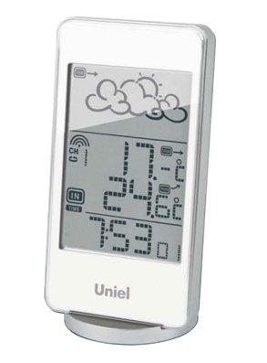 Часы без проекции Uniel UTV-82WЧасы без проекции<br>Настольная метеостанция UTV-82W в белоснежном корпусе &amp;ndash; это функциональный, стильный и удобный гаджет от бренда UNIEL. Устройство выведет на экран для вас информацию о температуре за окном и внутри комнаты, а также об уровне влажности и местном времени в формате 12/24. Модель оснащена удобным будильником с тремя вариантами настройки. Для питания используются две &amp;laquo;микропальчиковые&amp;raquo; батарейки для самой станции и еще две таких же &amp;ndash; для выносного датчика.<br>Основные преимущества использования рассматриваемой модели домашней метеостанции от торговой марки UNIEL:<br><br>Стильный эргономичный дизайн.<br>Компактные размеры конструкции.<br>Метеостанция с беспроводным датчиком.<br>Анимированный прогноз погоды.<br>Измерение влажности.<br>Измерение комнатной и внешней температуры (до -50 град).<br>Часы с форматом времени 12/24.<br>3 варианта программирования будильника.<br>Календарь.<br>Питание 2*ААА, питание датчика 2*ААА. &amp;nbsp;<br>Высокое качество и комфорт в управлении.<br><br>Бренд UNIEL &amp;ndash; поставщик качественного и надежного оборудования &amp;ndash; разработал семейство настольных метеостанций в компактном корпусе. Эти гаджеты станут прекрасным выбором для метеозависимых людей: устройства не просто показывают температуру за окном, а могут прогнозировать погоду, информировать об уровне относительной влажности и даже атмосферном давлении, возможном гололеде и зоне комфортности. Все модели оснащены большими дисплеями, а многие из них еще и анимацией. Также стоит отметить, что все метеостанции имеют индикатор точного времени и будильник.<br><br>Страна: Китай<br>Питание, В: Батарейки<br>Тип батарейки: AAA<br>Колво батареек: 2<br>Адаптер к 220В: Нет<br>С будильником: Да<br>Радиодатчик: None<br>С метеостанцией: Да<br>В помещении t, С: Да<br>За окном t, С: Да<br>Влажность в помещении: Да<br>Влажность за окном: Нет<br>Давление: Нет<br>Прогноз погоды: Да<br>Габариты, мм: 70x30x