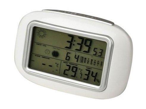Проекционные часы Uniel UTV-95WxxЧасы без проекции<br>Отечественная компания UNIEL представляет новинку в своем ассортименте метеостанций: модель UTV-95Wxx, которая представляет собой мультифункциональное устройство. Данный гаджет придется по вкусу даже самым притязательным покупателям. Среди прочих достоинств устройства стоит отметить наличие датчиков температуры и влажности, причем не только снаружи, но и внутри помещения; достаточно большой дисплей с анимацией; часы с будильником, оснащенные такой полезной функцией, как повторение сигнала; также имеется индикатор зоны комфортности и отображение лунных фаз.<br>Основные преимущества использования рассматриваемой модели домашней метеостанции от торговой марки UNIEL:<br><br>Стильный эргономичный дизайн.<br>Компактные размеры конструкции.<br>Метеостанция с анимированным прогнозом погоды.<br>Измерение внутри/снаружи помещения.<br>Измерение относительной влажности.<br>Память максимальных/минимальных значений температуры и влажности.<br>Подсветка дисплея.<br>Будильник с повторяющимся сигналом.<br>12/24 формат отображения времени.<br>Часы, календарь.<br>Индикатор зоны комфортности.<br>Фазы луны.<br>Беспроводной датчик с проводным сенсором ( 2,5 м).<br>Питание станции: батареи 2шт./ААА.<br>Питание датчика: батареи 3 шт./ААА.  <br>Высокое качество и комфорт в управлении.<br><br>Бренд UNIEL   поставщик качественного и надежного оборудования   разработал семейство настольных метеостанций в компактном корпусе. Эти гаджеты станут прекрасным выбором для метеозависимых людей: устройства не просто показывают температуру за окном, а могут прогнозировать погоду, информировать об уровне относительной влажности и даже атмосферном давлении, возможном гололеде и зоне комфортности. Все модели оснащены большими дисплеями, а многие из них еще и анимацией. Также стоит отметить, что все метеостанции имеют индикатор точного времени и будильник.<br><br>Страна: Китай<br>Питание, В: Батарейки<br>Тип батарейки: AAA<br>Колво батареек: 2<br>Адаптер
