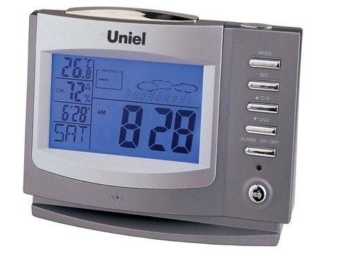 Часы без проекции Uniel UTV-97Часы без проекции<br>UTV-97 &amp;ndash; это функциональный гаджет от компании UNIEL, который представляет собой мини-метеостанцию с целым рядом дополнительных возможностей. Устройство оснащено информативным дисплеем с приятной голубой подсветкой, может записывать голосовые сообщения, имеет часы с календарем и даже будильник. Причем сигнал будильника пользователь может записать сам. Интерфейс модели может быть представлен на восьми языках.<br>Основные преимущества использования рассматриваемой модели домашней метеостанции от торговой марки UNIEL:<br><br>Стильный эргономичный дизайн.<br>Компактные размеры конструкции.<br>Метеостанция с записью голосовых сообщений.<br>Информативный ЖК дисплей с анимированным прогнозом погоды.&amp;nbsp;&amp;nbsp;<br>Измерение комнатной температуры и влажности.<br>Часы; календарь.<br>Будильник с сигналом или голосовым сообщением.<br>8 языков для индикации дней недели.<br>Питание 5*AАА.&amp;nbsp;<br>Высокое качество и комфорт в управлении.<br><br>Бренд UNIEL &amp;ndash; поставщик качественного и надежного оборудования &amp;ndash; разработал семейство настольных метеостанций в компактном корпусе. Эти гаджеты станут прекрасным выбором для метеозависимых людей: устройства не просто показывают температуру за окном, а могут прогнозировать погоду, информировать об уровне относительной влажности и даже атмосферном давлении, возможном гололеде и зоне комфортности. Все модели оснащены большими дисплеями, а многие из них еще и анимацией. Также стоит отметить, что все метеостанции имеют индикатор точного времени и будильник.<br><br>Страна: Китай<br>Питание, В: Батарейки<br>Тип батарейки: AAA<br>Колво батареек: 5<br>Адаптер к 220В: Нет<br>С будильником: Да<br>Радиодатчик: None<br>С метеостанцией: Да<br>В помещении t, С: Да<br>За окном t, С: Нет<br>Влажность в помещении: Да<br>Влажность за окном: Нет<br>Давление: Нет<br>Прогноз погоды: Да<br>Габариты, мм: 165x70x120<br>Вес, кг: 1<br>Гарантия: 1 год<br>Ширина мм: 70<br>Выс
