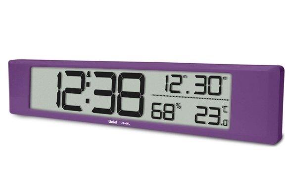 Часы без проекции Uniel UT-44LЧасы без проекции<br>UT-44L   это еще одна модель сетевых электронных настольных часов от бренда UNIEL. Из вытянутый корпус сиреневого цвета сможет стать отличным аксессуаром для декора интерьера спальни. Большой жидкокристаллический дисплей отображает не только точное время, но также настройки будильника, уровень относительной влажности и температуру в помещении! Формат времени можно задать и в 12-ти, и в 24-часовом виде.<br>Основные преимущества использования рассматриваемой модели многофункциональных электронных часов от торговой марки UNIEL:<br><br>Стильный эргономичный дизайн.<br>Компактные размеры конструкции.<br>Часы стильные и современные.<br>Универсальная установка   настольная/настенная.<br>Большой ЖК дисплей 337*60 мм.<br>12/24 формат времени.<br>Будильник с функцией  Snooze .<br>Измерение комнатной температуры и влажности.<br>Календарь.<br>Питание 3*АА.  <br>Высокое качество и комфорт в управлении.<br><br>Линейка многофункциональных часов от известной торговой марки UNIEL, несомненно, придется по вкусу всем любителям технологий. Эти устройства представляют собой современные гаджеты, которые оснащены не только индикатором точного времени, но и еще множеством дополнительных возможностей. Например, это функция  Snooze  у будильника. Дословно  Snooze  переводится, как  вздремнуть . То есть будильник позволяет несколько раз откладывать сигнал, что весьма понравится любителям подольше полежать в кровати по утрам.<br><br>Страна: Китай<br>Питание, В: Батарейки<br>Тип батарейки: AA<br>Колво батареек: 3<br>Адаптер к 220В: Нет<br>С будильником: Да<br>Радиодатчик: None<br>С метеостанцией: Да<br>В помещении t, С: Да<br>За окном t, С: Нет<br>Влажность в помещении: Да<br>Влажность за окном: Нет<br>Давление: Нет<br>Прогноз погоды: Нет<br>Габариты, мм: 435x80x24<br>Вес, кг: 1<br>Гарантия: 1 год<br>Ширина мм: 80<br>Высота мм: 435<br>Глубина мм: 24