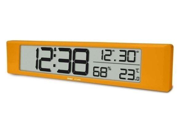 Часы без проекции Uniel UT-44OЧасы без проекции<br>Настольные электронные сетевые часы модели UT-44O от российской торговой марки UNIEL   это многофункциональный гаджет. Устройство оснащено широким жидкокристаллическим дисплеем, на котором отображает текущее время, время срабатывания будильника, температуру в помещении и даже уровень относительной влажности! Кроме того, будильник оснащен функцией  Snooze , а время может отображаться как в 12-часовом, так и в 24-часовом формате.<br>Основные преимущества использования рассматриваемой модели многофункциональных электронных часов от торговой марки UNIEL:<br><br>Стильный эргономичный дизайн.<br>Компактные размеры конструкции.<br>Часы стильные и современные.<br>Универсальная установка   настольная/настенная.<br>Большой ЖК дисплей 337*60 мм.<br>12/24 формат времени.<br>Будильник с функцией  Snooze .<br>Измерение комнатной температуры и влажности.<br>Календарь.<br>Питание 3*АА.  <br>Высокое качество и комфорт в управлении.<br><br>Линейка многофункциональных часов от известной торговой марки UNIEL, несомненно, придется по вкусу всем любителям технологий. Эти устройства представляют собой современные гаджеты, которые оснащены не только индикатором точного времени, но и еще множеством дополнительных возможностей. Например, это функция  Snooze  у будильника. Дословно  Snooze  переводится, как  вздремнуть . То есть будильник позволяет несколько раз откладывать сигнал, что весьма понравится любителям подольше полежать в кровати по утрам.<br><br>Страна: Китай<br>Питание, В: Батарейки<br>Тип батарейки: AA<br>Колво батареек: 3<br>Адаптер к 220В: Нет<br>С будильником: Да<br>Радиодатчик: None<br>С метеостанцией: Да<br>В помещении t, С: Да<br>За окном t, С: Нет<br>Влажность в помещении: Да<br>Влажность за окном: Нет<br>Давление: Нет<br>Прогноз погоды: Нет<br>Габариты, мм: 435x80x24<br>Вес, кг: 1<br>Гарантия: 1 год<br>Ширина мм: 80<br>Высота мм: 435<br>Глубина мм: 24