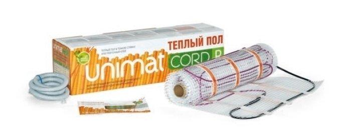 Теплый пол Unimat CORD P 140-0,5-4,2Нагревательные маты<br>Для обеспечения эффективного обогрева помещений прекрасно подходит теплый пол. Модель нагревательного мата с двужильным кабелем CORD P 140-0,5-4,2 может обслужить до 4,2 квадратных метров пола и предназначена для монтажа в плиточный клей или наливной пол. Выполнено изделие из резистивного кабеля с двумя металлическими жилами, а среди его преимуществ стоит выделить надежную изоляцию, экономичное электропотребление, простой монтаж и невероятную долговечность.<br>Особенности и преимущества теплых полов серии CORD P от бренда UNIMAT:<br><br>Тонкий термомат для укладки в стандартных помещениях (удельная мощность   140 Вт/м ).<br>Толщина нагревательного кабеля   4 мм.<br>Двухслойная изоляция нагревательных жил   тефлон, внешняя изоляция кабеля   ПВХ.<br>Защитный экран   из алюминиевой фольги с дополнительным проводником.<br>Силовой кабель: трехжильный, двойная изоляция, сечение 1,5 мм, длина 1,5 м.<br>Ширина рулона теплого пола UNIMAT CORD 50 см.<br>Терморегулятор с датчиком температуры пола (приобретается отдельно).<br><br>Состав комплекта поставки теплого пола CORD P от компании UNIMAT:<br><br>Конвекционный кабельный теплый пол Юнимат Корд P<br>Термомат в рулоне с подсоединенным силовым кабелем.<br>Гофротрубка.<br>Заглушка к гофротрубке.<br>Инструкция по эксплуатации и гарантийный талон.<br><br>Теплый пол серии CORD T/ P от торговой марки UNIMAT представляет собой нагревательный мат ультратонкого размера, который выполнен на основе резистивного кабеля с двумя жилами. Представленный теплый пол сможет обеспечить равномерный прогрев всего помещения, а монтируются такие маты в плиточные и наливные полы, а также тонкую стяжку. UNIMAT CORD T/ P совершенно безопасен и может использоваться повсеместно: в гостиной и кухне, спальне и детской комнате, даже в ванной.<br><br>Страна: Россия<br>Мощность, кВт: None<br>Удельная мощ., Вт/м?: 140,0<br>Длина, м: None<br>Площадь, м?: 4,2<br>Тип кабеля: Резистивный, двухжильный, экра