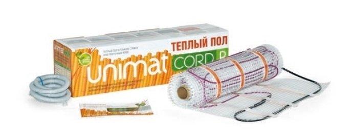 Теплый пол Unimat CORD P 140-0,5-8,0Нагревательные маты<br>CORD P 140-0,5-8,0   это термомат от бренда UNIMAT, изготовленный на основе резистивного кабеля. Кабель имеет две греющие металлические жилы, которые помещены в тефлоновую изоляцию, прекрасно противостоящую разрушительному воздействию высоких температур. Также имеет надежное экранирование из алюминиевой фольги с дополнительным проводником. Такое конструктивное решение гарантирует безопасность эксплуатации изделия.<br>Особенности и преимущества теплых полов серии CORD P от бренда UNIMAT:<br><br>Тонкий термомат для укладки в стандартных помещениях (удельная мощность   140 Вт/м ).<br>Толщина нагревательного кабеля   4 мм.<br>Двухслойная изоляция нагревательных жил   тефлон, внешняя изоляция кабеля   ПВХ.<br>Защитный экран   из алюминиевой фольги с дополнительным проводником.<br>Силовой кабель: трехжильный, двойная изоляция, сечение 1,5 мм, длина 1,5 м.<br>Ширина рулона теплого пола UNIMAT CORD 50 см.<br>Терморегулятор с датчиком температуры пола (приобретается отдельно).<br><br>Состав комплекта поставки теплого пола CORD P от компании UNIMAT:<br><br>Конвекционный кабельный теплый пол Юнимат Корд P<br>Термомат в рулоне с подсоединенным силовым кабелем.<br>Гофротрубка.<br>Заглушка к гофротрубке.<br>Инструкция по эксплуатации и гарантийный талон.<br><br>Теплый пол серии CORD T/ P от торговой марки UNIMAT представляет собой нагревательный мат ультратонкого размера, который выполнен на основе резистивного кабеля с двумя жилами. Представленный теплый пол сможет обеспечить равномерный прогрев всего помещения, а монтируются такие маты в плиточные и наливные полы, а также тонкую стяжку. UNIMAT CORD T/ P совершенно безопасен и может использоваться повсеместно: в гостиной и кухне, спальне и детской комнате, даже в ванной.<br><br>Страна: Россия<br>Мощность, кВт: None<br>Удельная мощ., Вт/м?: 140,0<br>Длина, м: None<br>Площадь, м?: 8,0<br>Тип кабеля: Резистивный, двухжильный, экранированный<br>Напряжение, В: 220<br>диаметр 
