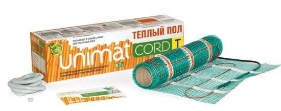 Теплый пол Unimat CORD T 200-0,5-4,2Нагревательные маты<br>Подбираете теплые полы? Помещение, которое они будут обслуживать, достаточно холодное? Обратите внимание на модель CORD T 200-0,5-4,2 от торговой марки UNIMAT. Ее удельная мощность в 200 Вт на квадратный метр сможет обеспечить качественный, эффективный прогрев пола, при этом изделие будет потреблять минимум электрической энергии. Выполнена модель в виде греющего двужильного кабеля в медной оплетке и тефлоновой изоляции, который закреплен на армирующей сетке с клеевым слоем.<br>Особенности и преимущества теплых полов серии CORD T от бренда UNIMAT:<br><br>Сверхтонкий нагревательный мат обладает повышенной надежностью, предназначен для использования в стандартных и холодных помещениях.<br>Толщина нагревательного кабеля &amp;ndash; 2,8 мм.<br>Три слоя высокотемпературной тефлоновой изоляции надежно защищают нагревательные жилы, а также внешнюю и внутреннюю поверхности кабеля.<br>Экран имеет сетчатую оплетку из луженой меди.<br>Для удобства фиксации при монтаже на сетке предусмотрено специальное клеевое покрытие.<br>Линейка включает маты для укладки в холодных помещениях (на дачах, лоджиях, верандах, балконах и пр.) мощностью 200 Вт/м&amp;sup2;, а также продукцию для стандартных условий использования (мощностью 130 Вт/м&amp;sup2;).<br><br>Состав комплекта теплого пола UNIMAT CORD T:<br><br>Термомат в рулоне.<br>Гофротрубка с заглушкой.<br>Паспорт изделия, инструкция, гарантийный талон.<br><br>Теплый пол серии CORD T/ P от торговой марки UNIMAT представляет собой нагревательный мат ультратонкого размера, который выполнен на основе резистивного кабеля с двумя жилами. Представленный теплый пол сможет обеспечить равномерный прогрев всего помещения, а монтируются такие маты в плиточные и наливные полы, а также тонкую стяжку. UNIMAT CORD T/ P совершенно безопасен и может использоваться повсеместно: в гостиной и кухне, спальне и детской комнате, даже в ванной.<br><br>Мощность, кВт: None<br>Страна: Россия<br>Удельная мощ