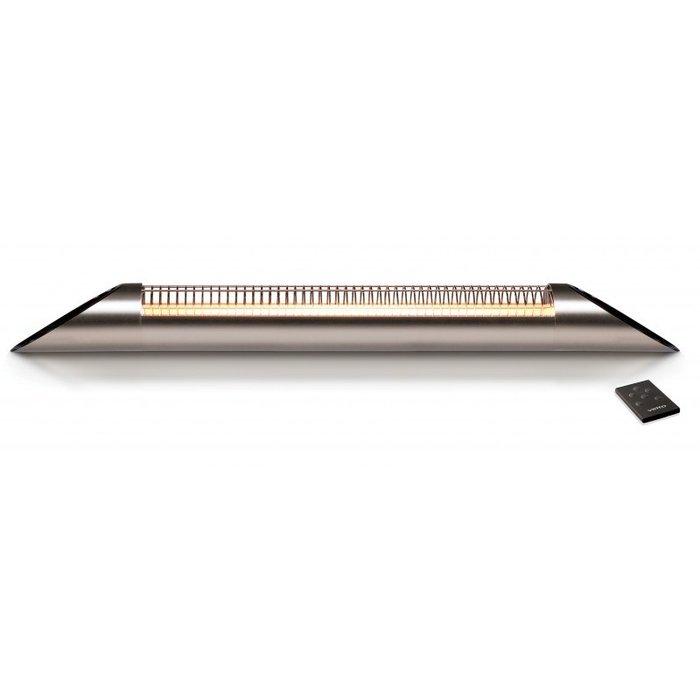 Инфракрасный обогреватель Veito Blade S Silver2 кВт<br>Настенный инфракрасный обогреватель Veito Blade S Silver был изготовлен из высокопрочных и надежных материалов, оснащен передовой системой управления и отличается непревзойденной устойчивостью к агрессивным внешним воздействиям. Такой агрегат не боится попадания водяных брызг, ветра или снега и идеально подходит для эксплуатации на открытых территориях.<br>Особенности и преимущества инфракрасных обогревателей Veito:<br><br>Карбоновый нагревательный элемент не имеет ограничения по сроку службы.<br>Высокое качество сборки.<br>Гарантия на прибор 5 лет.<br>Обогреватель не боится влаги.<br>Моментальный выход обогревателя на заданный режим мощности.<br>Возможность зонального обогрева помещения.<br>Низкий класс энергопотребления.<br>Безопасность для человека и окружающей среды.<br>Не выжигает кислород в помещении, не сушит воздух, не нарушает циркуляции воздуха.<br><br>Современные инфракрасные обогреватели Veito отлично дополнят любой интерьер и помогут в организации теплого и комфортного микроклимата на участке любого типа. Все модели, представленные производителем, были выполнены с использование новейших технологий, благодаря чему отличаются несравненной прочностью и долговечностью. Каждое устройство комфортно управляется и имеет передовую систему защиты.<br><br>Страна: Турция<br>Мощность, кВт: 2,5<br>Площадь, м?: 25<br>Регулировка мощности: Да<br>Тип установки: Настенная<br>Отключение при перегреве: Есть<br>Пульт: Есть<br>Габариты ШВГ, см: 90x13x9<br>Вес, кг: 3<br>Гарантия: 5 лет<br>Ширина мм: 900<br>Высота мм: 130<br>Глубина мм: 90