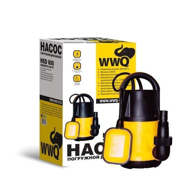 Дренажный насос WWQ NSD600250 л/мин<br>WWQ NSD600 представляет собой модель дренажного насоса от известного производителя, который поможет организовать общую систему водоснабжения частного дома. Прочный корпус агрегата выполнен из высококачественных и износостойких материалов, устойчивых к воздействию окружающей среды. Насос прост и неприхотлив в обслуживании.<br>Особенности и преимущества:<br><br>Служат для перекачивания чистых, жидкостей, в которых могут присутствовать нерастворимые фрагменты величиной от 3мм до 5 мм.<br>Отводят воду до уровня 3-5 мм.<br>Снабжены поплавковым выключателем, обеспечивающим автоматическое включение и выключение насоса в зависимости от уровня воды.<br>В моделях с литерой  А  поплавковый выключатель является встроенным для оптимального функционирования прибора в узких пространствах.<br>Все насосы оснащены встроенной термозащитой, которая блокирует работу насоса в случае его перегрева.<br>Все насосы имеют встроенный воздушный клапан.<br>Насосы могут работать как в автоматическом, так и в ручном режиме.<br><br>Особенность дренажных насосов WWQ серии ND/NSD для чистой воды заключается в их мобильности и простоте обслуживания. Устройства данной серии легко транспортируется и  устанавливается на новом месте. Модели быстро ремонтируются ввиду доступности узлов оборудования. Для приборов, предназначенных для монтажа на краю резервуара с жидкостью для перекачки, характерен средний уровень мощности.<br><br>Страна: Россия<br>Производитель: Китай<br>Качество воды: Чистая<br>Производ. л/мин: 241<br>Max напор, м: 9,5<br>Max глубина погружения, м: 8<br>Мощность, Вт: 600<br>Напряжение сети, В: 220 В<br>Длина кабеля, м: None<br>Реле сух. хода: Нет<br>Материал корпуса: None<br>Материал корпуса: Пластик<br>Min. диаметр выхода, : 1<br>Max темп. жидкости, С: None<br>Класс защиты: IPX8<br>Габариты ВхШхГ, см: None<br>Вес, кг: 6<br>Гарантия: 2 года