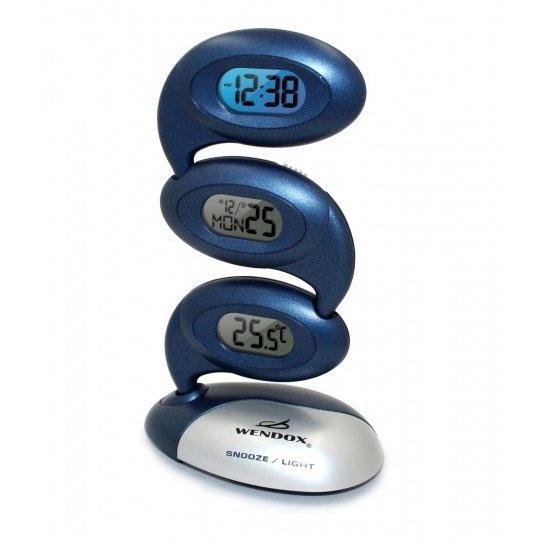 Проекционные часы Wendox W1810 темно-синиеЧасы без проекции<br>Настольные часы Wendox W1810 темно-синие придутся по душе любителям стильных и полезных бытовых приборов. Модель являет собой современное электронное устройство, осуществляющее работу от двух батареек типа AA. Прибор Выполнен в пластиковом устойчивом корпусе с тремя дисплеями, которые отображают время, дату и температуру воздуха в помещении. Кроме того, данные часы оснащены будильником.<br>Особенности прибора:<br><br>Измерение и отображение температуры (в  C или F) воздуха внутри помещения<br>- диапазон измерения: от 0  C до + 50 C<br>Часы (формат времени 12/24) с будильником и функцией Snooze (повтор сигнала)<br>Календарь<br>Временная подсветка жидкокристаллического дисплея, отображающего время при нажатии на кнопку<br><br>Комплектация прибора:<br><br>Wendox W1812-MULTY   1 шт.<br>Батареи типа АА/1.5В - 2 шт.<br>Инструкция на русском языке   1 шт.<br><br>Настольные часы от английской компании Wendox   это множество современных приборов, многие из которых наделены дополнительными функциями. В семействе найдутся приборы, способные не только точно отображать ход времени, но и измерять температуру воздуха, показывать текущую дату. Многие приборы имеют в наборе функций будильник с повторяющимся сигналом.<br><br>Страна: Великобритания<br>Питание, В: Батарейки<br>Тип батарейки: АА<br>Колво батареек: 2<br>Адаптер к 220В: Нет<br>С будильником: Да<br>Радиодатчик: Нет<br>С метеостанцией: Да<br>В помещении t, С: Да<br>За окном t, С: Нет<br>Влажность в помещении: Нет<br>Влажность за окном: Нет<br>Давление: Нет<br>Прогноз погоды: Нет<br>Габариты, мм: 125x75x170<br>Вес, кг: 1<br>Гарантия: 1 год<br>Ширина мм: 75<br>Высота мм: 125<br>Глубина мм: 170