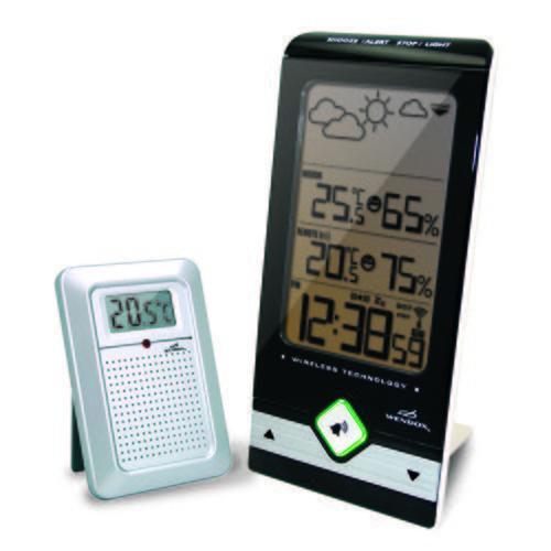 Цифровая метеостанция Wendox W9731+6726С радиодатчиком<br>Цифровая метеостанция в стильном дизайне с индикатором уровня комфортности и прогнозом погоды   домашняя модель погодной станции W9731+6726 от Wendox имеет выносной радиодатчик для измерения наружной температуры и влажности воздуха. Помимо символьного прогноза погоды и других стандартных значений у данной модели присутствует индикатор уровня комфортности, который производитель визуализировал в виде смайликов. <br><br>Страна: Великобритания<br>Диапазон темп. t, С: 50+70<br>Диапазон p, мм. рт. ст.: None<br>Диапазон rH, : 2099<br>Разрешение t, С: 0,1<br>Цвет корпуса: Черный<br>Питание, В: Батарейки<br>Колво батареек: 3<br>Тип батарейки: ААА<br>Адаптер к 220В: Нет<br>В комнате t, С: Да<br>За окном t, С: Да<br>Влажность в помещении: Да<br>Влажность за окном: Да<br>Давление: Нет<br>Прогноз погоды: Да<br>Лунный календарь: Нет<br>Размер, мм: 105х90х205<br>Вес, кг: 1<br>Гарантия: 1 год<br>Ширина мм: 90<br>Высота мм: 105<br>Глубина мм: 205
