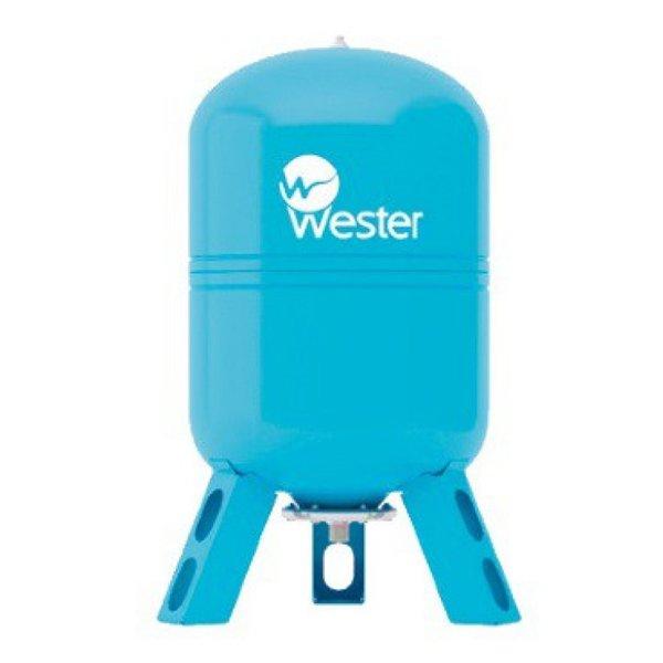 Расширительный бак Wester WAV 100100 литров<br>Отличающийся достойной долговечностью и качеством исполнения вертикальный мембранный бак от надежной компании Wester WAV 100 позволяет предотвратить гидравлический удар в системах водоснабжения и как следствие избежать разрушительных последствий за счет поддержания рабочего давления. Изделие было изготовлено из качественного материала, проверенного временем   высокопрочной стали.<br>Особенности и преимущества мембранных баков Wester серии WAV:<br><br>Мембранные баки рассчитаны на рабочую температуру от +1  С до +100  С;<br>Баки сделаны из прочной высококачественной стали и по всей конструкции рассчитаны на многолетнюю эксплуатацию;<br>Внешняя сторона бака имеет эпоксиполиэфирное покрытие;<br>Мембрана заменяемая, сделана из специальной резины   EPDM;<br>Баки снабжены штуцером G для присоединения к системе водоснабжения, воздушным ниппелем для настройки давления в воздушной полости.<br><br>Гидроаккумуляторы WAV от бренда Wester защитят систему водоснабжения от гидроударов, а также позволят поддержать постоянное давление. Использование таких мембранных буферов позволяет повысить срок службы насосов, так как уменьшает количество их включений и выключений. Все баки линейки снабжены сменными мембранами, имеют штуцер для подключение к системе, а также ниппель, который позволяет регулировать давление внутри воздушной полости. <br><br>Страна: Россия<br>Производитель: Россия<br>Объем, л: 100<br>Рабочая темп. С: 100<br>Давление, бар: 1,5<br>Max рабочее давление, бар: 10<br>Покрытие бака: Без покрытия<br>Присоединительный диаметр, мм: 1<br>Габариты ВхШхГ, мм: 787x495x495<br>Вес, кг: 16<br>Гарантия: 1 год<br>Ширина мм: 495<br>Высота мм: 787<br>Глубина мм: 495