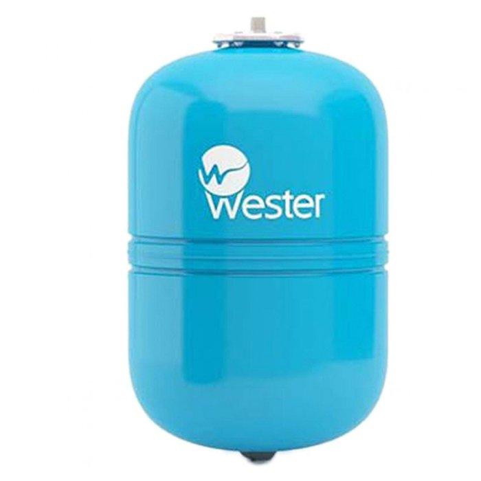 Расширительный бак Wester WAV 3535 литров<br>Мембранный расширительный бак в вертикальном исполнении Wester WAV 35 выполнен из высокопрочной стали высокого качества и имеет специальное эпоксиполиэфирное покрытие внешней стороны рассматриваемой емкости. Изделие предназначено для работы в системах водоснабжения, чтобы значительно снизить риск гидравлического удара, который может привести к значительным повреждениям.<br>Особенности и преимущества мембранных баков Wester серии WAV:<br><br>Мембранные баки рассчитаны на рабочую температуру от +1  С до +100  С;<br>Баки сделаны из прочной высококачественной стали и по всей конструкции рассчитаны на многолетнюю эксплуатацию;<br>Внешняя сторона бака имеет эпоксиполиэфирное покрытие;<br>Мембрана заменяемая, сделана из специальной резины   EPDM;<br>Баки снабжены штуцером G для присоединения к системе водоснабжения, воздушным ниппелем для настройки давления в воздушной полости.<br><br>Гидроаккумуляторы WAV от бренда Wester защитят систему водоснабжения от гидроударов, а также позволят поддержать постоянное давление. Использование таких мембранных буферов позволяет повысить срок службы насосов, так как уменьшает количество их включений и выключений. Все баки линейки снабжены сменными мембранами, имеют штуцер для подключение к системе, а также ниппель, который позволяет регулировать давление внутри воздушной полости. <br><br>Страна: Россия<br>Производитель: Россия<br>Объем, л: 35<br>Рабочая темп. С: 100<br>Давление, бар: 1,5<br>Max рабочее давление, бар: 10<br>Покрытие бака: Без покрытия<br>Присоединительный диаметр, мм: 3/4<br>Габариты ВхШхГ, мм: 453x365x365<br>Вес, кг: 6<br>Гарантия: 1 год<br>Ширина мм: 365<br>Высота мм: 453<br>Глубина мм: 365