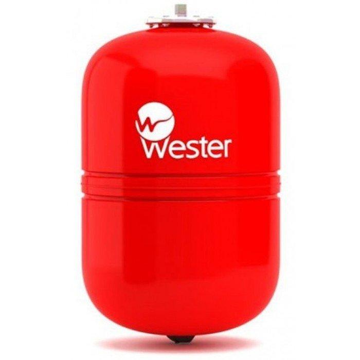 Расширительный бак Wester WRV 2425 литров<br>Wester WRV 24   это модель расширительного бака, который оснащен мембранной из специальной резины и был изготовлен достойной производственной компанией и соответствует самым строгим требованиям безопасности. Рассматриваемая конструкция предназначена для работы в закрытых системах отопления для нейтрализации расширения теплоносителя в следствии изменения температуры.<br>Особенности и преимущества мембранных баков Wester серии WRV:<br><br>Баки сделаны из прочной высококачественной стали и по всей конструкции рассчитаны на многолетнюю эксплуатацию;<br>Внешняя сторона бака имеет эпоксиполиэфирное покрытие;<br>Мембрана заменяемая, сделана из специальной резины   EPDM;<br>Баки снабжены штуцером G для присоединения к системе отопления, воздушным ниппелем для настройки давления в воздушной полости;<br>Баки от 200л имеют дополнительный штуцер нар.-вн. 3/4х 1/2;<br>Модели WRV50-150 выполнены на опорах, модели WRV200-500 top выполнены на стойках.<br><br>WRV   это мембранные баки, основная задача которых заключается в компенсации расширения теплоносителя в результате подогрева. Сфера использования баков   замкнутые системы. Комплектация устройств предусматривает наличие штуцера для подключения к отопительной системе, а также воздушный ниппель, с помощью которого настраивается давление в воздушной полости, образовываемой мембраной. Модельный ряд представлен широкий разнообразие емкостей, вместительностью от восьми литров до десяти тонн. Модели от двухсот литров укомплектованы дополнительным штуцером для подключения датчиков. <br><br>Страна: Россия<br>Производитель: Россия<br>Объем, л: 24<br>Рабочая темп. С: 100<br>Давление, бар: 1,5<br>Max рабочее давление, бар: 5<br>Покрытие бака: Без покрытия<br>Присоединительный диаметр, мм: 3/4<br>Габариты ВхШхГ, мм: 504x280x280<br>Вес, кг: 5<br>Гарантия: 1 год<br>Ширина мм: 280<br>Высота мм: 504<br>Глубина мм: 280