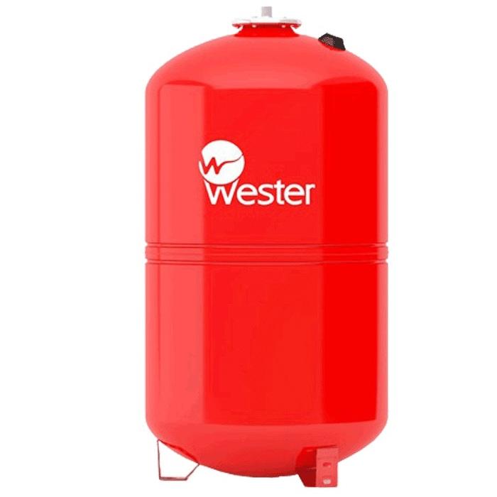 Расширительный бак Wester WRV 5050 литров<br>Разработанный надежной производственной компанией расширительный бак Wester WRV 50 соответствует самым строгим требованиям безопасности. Изделие из данной категории используется в закрытых системах отопления, где помогает компенсировать объемы теплоносителя при изменении температуры. Данное оборудование представляет собой вертикальную емкость из стали высокого качества.<br>Особенности и преимущества мембранных баков Wester серии WRV:<br><br>Баки сделаны из прочной высококачественной стали и по всей конструкции рассчитаны на многолетнюю эксплуатацию;<br>Внешняя сторона бака имеет эпоксиполиэфирное покрытие;<br>Мембрана заменяемая, сделана из специальной резины   EPDM;<br>Баки снабжены штуцером G для присоединения к системе отопления, воздушным ниппелем для настройки давления в воздушной полости;<br>Баки от 200л имеют дополнительный штуцер нар.-вн. 3/4х 1/2;<br>Модели WRV50-150 выполнены на опорах, модели WRV200-500 top выполнены на стойках.<br><br>WRV   это мембранные баки, основная задача которых заключается в компенсации расширения теплоносителя в результате подогрева. Сфера использования баков   замкнутые системы. Комплектация устройств предусматривает наличие штуцера для подключения к отопительной системе, а также воздушный ниппель, с помощью которого настраивается давление в воздушной полости, образовываемой мембраной. Модельный ряд представлен широкий разнообразие емкостей, вместительностью от восьми литров до десяти тонн. Модели от двухсот литров укомплектованы дополнительным штуцером для подключения датчиков. <br><br>Страна: Россия<br>Производитель: Россия<br>Объем, л: 50<br>Рабочая темп. С: 100<br>Давление, бар: 1,5<br>Max рабочее давление, бар: 5<br>Покрытие бака: Без покрытия<br>Присоединительный диаметр, мм: 3/4<br>Габариты ВхШхГ, мм: 555x365x365<br>Вес, кг: 8<br>Гарантия: 1 год<br>Ширина мм: 365<br>Высота мм: 555<br>Глубина мм: 365