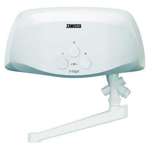 Водонагреватель Zanussi 3-logic T (5,5 kW) - кран5 кВт<br> Zanussi (Занусси) 3-logic T (5,5 kW)   кран    это производитель проточный водонагреватель, который сможет значительно повысить уровень комфорта в вашем доме. Производитель предусмотрел для прибора простой и быстрый монтаж на стене, а также удобное кнопочное управление. Данный агрегат оснащен понятной индикацией, которая сообщит о текущем рабочем режиме.<br>Особенности и преимущества электрических проточных водонагревателей Zanussi серии 3-logic:<br><br>Модели: 3-logic 3,5/5,5/6,5 (T/S/TS)<br>Гидравлическая система управления<br>Медный нагревательный элемент<br>Три режима мощности нагрева<br>Индикация режимов работы<br>Датчик защиты от перегрева и датчик протока<br>Экономичность в потреблении энергии<br>Для обслуживания одной водоразборной точки<br>Три вида комплектации: кран; душ; кран и душ<br>Производительность: 2,0-3,7 л/мин<br>Класс пылевлагозащищенности IPX4<br>Компактные размеры<br>Современный стильный дизайн<br>Эргономичная конструкция приборов<br>Удобство монтажа<br>Комфорт эксплуатации<br><br>3-logic   это серия компактных водонагревательных приборов от известного итальянского производителя. Компания Zanussi представила семейство в трех мощностных типах и тремя видами комплектации. Среди ассортимента линейки пользователи найдут модели с краном, с душевой насадкой, а также и с краном, и с душем вместе. Одно из примечательных достоинств семейства   компактный современный дизайн, каждая деталь в котором тщательно продумана. Конструкция подразумевает нижнее подключение воды, а небольшие размеры позволят разместить агрегат непосредственно над раковинной в ванной комнате или на кухонной мойкой. <br><br>Страна: Италия<br>Производитель: Китай<br>Темп. нагрева, С: 50<br>Способ нагрева: Электрический<br>Производительность: 3,1<br>Мощность, кВт: 5,5<br>Защита от перегрева: Есть<br>LCD дисплей: None<br>Управление: Гидравлическое<br>Тип установки: Настенная<br>Подводка: Нижняя<br>Комплектация: Кран<br>Тип подач