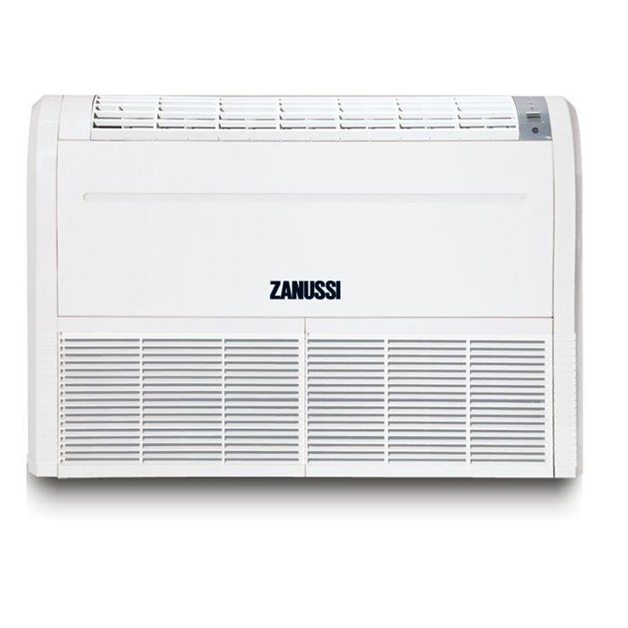 Напольно-потолочный кондиционер Zanussi ZACU -48 H/ICE/FI/N114 кВт - 48 BTU<br>Сплит-система с внутренним блоком напольно-потолочного типа Zanussi (Занусси) ZACU -48 H/ICE/FI/N1 работает на озонобезопасном хладагенте и имеет большую длину фреонотрассы. Модель оснащен функцией подогрева картера. Что продляет срок службы сплит-системы. Фазовый монитор, функция автоматической разморозки, защита по давлению   все это преимущества данного кондиционера.<br>Особенности и преимущества настенных кондиционеров Zanussi серии FORTE INTEGRO:<br><br>Озонобезопасный фреон R410A<br>4 режима работы: охлаждение, обогрев, вентиляция, осушение<br>Режим работы Auto<br>Таймер 24<br>Авторестарт<br>Самодиагностика<br>Спиральный компрессор<br>Подогрев картера<br>Фазовый монитор<br>Гидрофильный испаритель<br>Защита от коррозии<br>Функция Defrost<br>Защита по давлению<br>Флокированные жалюзи<br>Универсальные внешние блоки<br><br>FORTE INTEGRO   это новинка сезона 2017 года от итальянской торговой марки Zanussi. представленная кондиционерами полупромышленного типа. Семейство отличается широтой ассортимента: кассетные и канальные, напольно-потолочные и канальные комплекты и внутренние блоки, а также универсальные наружные модули. Оборудование для кондиционирования от компании Zanussi значительно облегчает повседневную жизнь, привнося в нее комфорт. <br><br>Страна: Италия<br>Охлаждение, кВт: 14.1<br>Обогрев, кВт: 15.2<br>Осушение, л/час: None<br>Воздухообмен, мsup3;/ч: 2000<br>Уровень шума внеш/внутр.б., Дба: /49<br>Габариты внут. блока, ВШГ: 1580x680x230<br>Габариты внеш. блока ВШГ: 930x930x340<br>Вес внеш. блока, Кг: 114<br>Вес внутр. блока, Кг: 47<br>Режимы работы: Холод / тепло<br>Площадь, м?: 140<br>Режим приточной вентиляции: Нет<br>Компрессор: Не инвертор<br>Сенсор движения: Нет<br>Фильтры тонкой очистки воздуха: Нет<br>Гарантия: 3 года