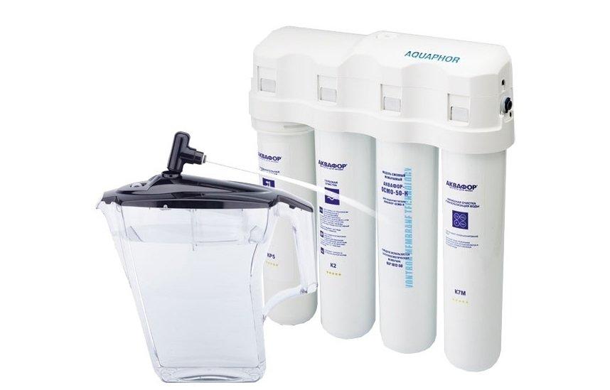 Фильтр для воды Аквафор ОСМО К исполнение К-100-3-Б-М-Р-ГПод мойку<br>Водоочиститель Аквафор ОСМО К в исполнении 100-3-Б-М-Р-Г является отличным вариантом для офисов, так как очищенная питьевая воды будет у вас под рукой в любое удобное время. С помощью фильтра- диспенсера можно очищать неограническое количество воды. Видимая экономия на приобретении бутилированной воды. Структура фильтрующего устройства способна максимально качественно устранять вредные примеси и обеспечивать всех питьевой водой премиум-класса. Максимально предусмотренное расстояние до водных коммуникация составляет 200 метров.<br>Представленная фильтрующая система справляется с несколькими задачами:<br><br>Защищает от различных болезнетворных организмов.<br>Устраняет излишки солей жесткости, делая воду намного мягче.<br>Задерживает взвешенные примеси: песок, ржавчину, окалину и т.д.<br>Насыщает воду полезными минеральными солями, возвращая ей природный состав.<br>Удаляет нитраты и формальдегиды.<br><br>Комплект поставки предусматривает не только картриджи с фильтрующими элементами, но также специальную емкость с крышкой и поплавком для сбора очищенной воды, патрубки для соединений, дренажный хомут и промывочную заглушку.<br>Системы обратного осмоса Аквафор   это совершенные системы фильтрации. Обратноосмотические мембраны сконструированы таким образом, что сквозь них проникают только молекулы воды, а все загрязнения   задерживаются. Безусловно, скорость фильтрации у таких систем ниже, чем у обычных фильтров. Однако данный факт полностью компенсируется степенью очистки.<br><br>Страна: Россия<br>Колво степеней очистки: 4<br>Фильтрация, л/м.: 0,26<br>Емкость, л: 3,8<br>Минерализатор: Есть<br>Умягчение: Есть<br>Очистка от хлора: Есть<br>Очистка от тяжелых металлов: Есть<br>Очистка от ржавчины: Есть<br>Очистка от пестицидов: Есть<br>Очистка от фенола: Есть<br>Габариты, мм: 390x100x420<br>Вес, кг: 5<br>Гарантия: 1 год<br>Ширина мм: 100<br>Высота мм: 390<br>Глубина мм: 420