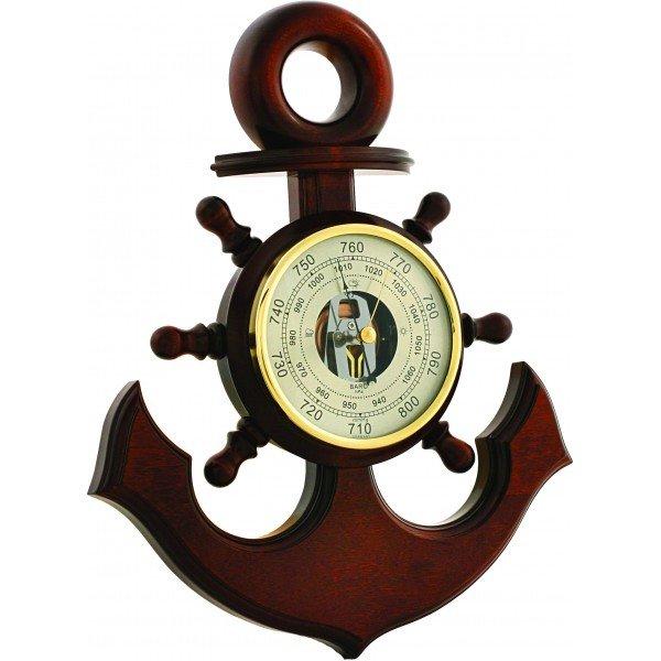 Якорь Бриг+Барометры<br>Бриг+ М15 С барометр-якорь встроен в корпус из массива качественной древесины, что позволяет ему выглядеть дорого и роскошно. Идеальное украшение и сувенир для личного кабинета, имеющего морской дизайн. Механизм-анероид определяет давление с высокой точностью. С таким сувениром каждый сможет почувствовать себя капитаном.<br><br>Страна: Россия<br>Диапазон p, мм. рт. ст.: 710800<br>Цвет: Барокко<br>Питание, В: Нет<br>Тип батарейки: None<br>Тип установки: Вертикальная<br>Колво батареек: None<br>Стиль исполнения: Классический<br>Термометр: Нет<br>Гигрометр: Нет<br>Часы: Нет<br>Габариты, мм: 320х240<br>Вес, кг: 1<br>Гарантия: 1 год