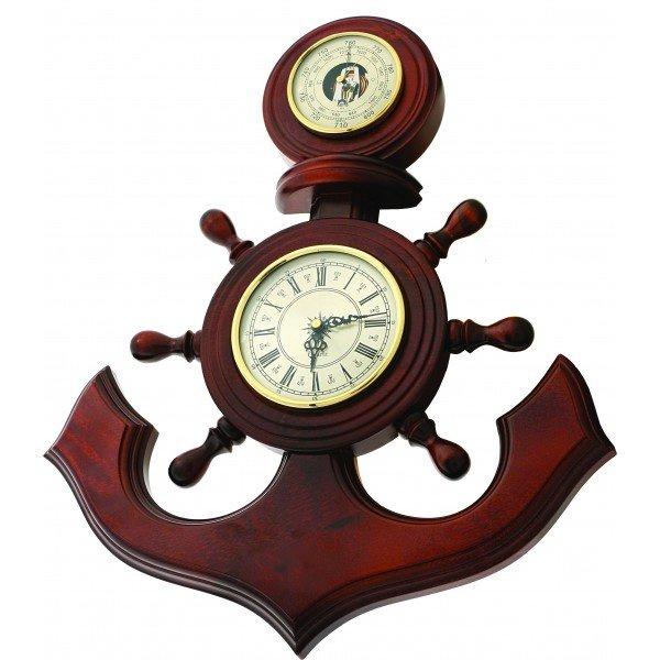 Настенный барометр Бриг+ М6 (якорь) часыБарометры<br>Выполненный из высококачественной и прочной древесины настенный анероид Бриг+ М6 (якорь) часы имеет интересное исполнение. Которое станет отличным подарком для рыбака. Устройство позволит вам всегда быть в курсе, который сейчас час и как изменяется атмосферное давление. Точный измерительный прибор выполнен из качественного и устойчивого к образованию коррозии материала, проверенного временем.<br><br>Страна: Россия<br>Диапазон p, мм. рт. ст.: 710800<br>Цвет: Барокко<br>Питание, В: Батарейки<br>Тип батарейки: АА<br>Тип установки: Вертикальная<br>Колво батареек: 1<br>Стиль исполнения: Классический<br>Термометр: Нет<br>Гигрометр: Нет<br>Часы: Есть<br>Габариты, мм: 530х500<br>Вес, кг: 3<br>Гарантия: 1 год