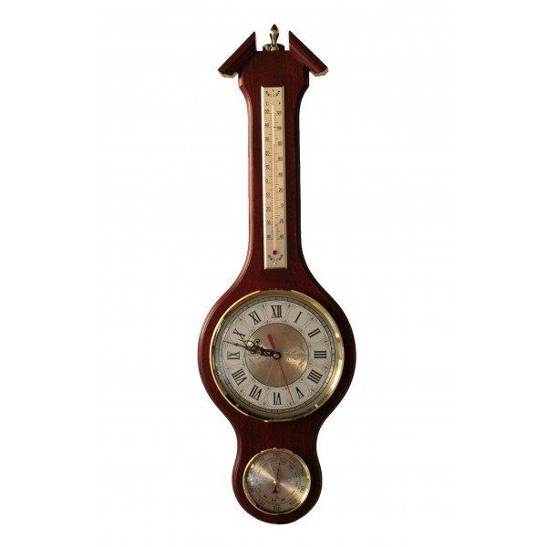Барометр Бриг+Барометры<br>Бриг+ М-56 часы   это потрясающий интерьерный аксессуар, который идеально подойдет для тех, кто любит качественные, надежные, привлекательные и немного консервативные решения для пространственного оформления помещения и получения актуальных сведений о климатических изменениях. Изделие изготовлено из высокопрочной древесины и отличается роскошным цветовым исполнением.<br>Основные достоинства данной модели метеоприбора от компании Бриг+:<br><br>Качественные материалы изготовления<br>Привлекательный облик<br>Сохранность первозданного облика на долгие годы эксплуатации<br>Гарантия высокого качества<br>Часы D180, термометр L176, барометр D90<br><br>Барометры от компании Бриг+ подарят вам идеальную возможность организовать пространственное оформление интерьера и при этом получить точные и всегда актуальные сведения о погодных условиях и микроклимате. Изделия выдержаны в строгом деловом стиле, бывают близки к морской тематике, и отличаются достойной презентабельностью и надежным исполнением из ценных пород дерева. <br><br>Страна: Россия<br>Диапазон p, мм. рт. ст.: 710800<br>Цвет: Барокко<br>Питание, В: Батарейки<br>Тип батарейки: АА<br>Тип установки: Настенная<br>Колво батареек: 1<br>Стиль исполнения: Классический<br>Термометр: Есть<br>Гигрометр: Нет<br>Часы: Есть<br>Габариты, мм: 710х220<br>Вес, кг: 2<br>Гарантия: 1 год