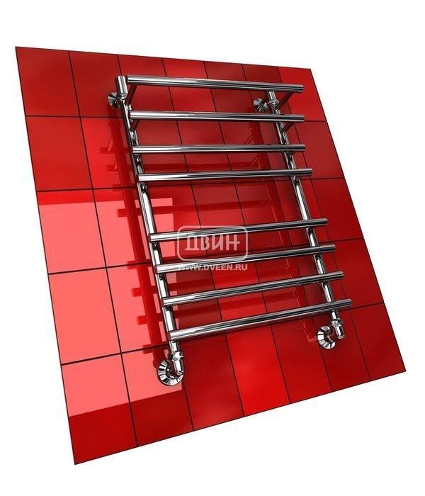 Водяной полотенцесушитель лесенка Двин F PRIMO 80/50Лесенка<br>Для изготовления полотенцесушителя Двин F PRIMO 80/50 используется стальная труба с высокими прочностными характеристиками. Выполнен агрегат в форме лесенки, у которой верхняя перекладина выдвинута вперед. Полотенцесушитель выдерживает давление до 24,5 атм, а также справляется с гидроударами. Прибор устойчив перед образованием ржавчины и к воздействию высоких температур.  <br>Особенности и преимущества водяных полотенцесушителей Двин серии F PRIMO<br><br>Полотенцесушитель оборудован клапаном Маевского (находится под декоративным колпачком), что позволяет без труда удалить образовавшуюся воздушную пробку<br>Количество перекладин зависит от высоты полотенцесушителя<br>Материал:  Пищевая нерж. сталь марки AISI304<br>Толщина стенки коллектора:  2,0 мм<br>Рабочее давление:  8 атм (24,5 атм max)<br>Давление при испытании:  40 атм<br>Максимально возможная температура воды 110 С<br>Маркировка:  Фирменная голограмма и лазерная гравировка номера партии<br>Тепловая мощность, в зависимости от типоразмера полотенцесушителя, составляет до 790 Q-Вт<br>Срок службы:  Более 10 лет<br><br>Комплектация:<br><br>полотенцесушитель<br>упаковка (картонная коробка, полиэтиленовый пакет)<br>гарантийный талон<br>паспорт на изделие<br>фитинги:<br><br><br>колпачок декоративный - 2 шт<br>клапан  Маевского  - 2 шт<br>муфта переходная с крепежным поворотным кольцом - 2 шт<br>кронштейн телескопический -2 шт<br>уплотнительная прокладка 6 шт<br>угловое соединение г/г 1* на 3/4*-2 шт<br>отражатель декоративный  -2 шт<br>эксцентрик   на  -2 шт.<br><br>Выберите свой цвет полотенцесушителя:<br> <br>При заказе в цвете вся фурнитура и краны тоже будут окрашены в цвет.<br>Цена указана за полотенцесушители без цветного покрытия. Для определения стоимости прибора в цвете обратитесь к менеджеру.<br>Обратите внимание! Товар поставляется под заказ. Срок выполнения заказа 10 дней.<br>Торговая марка Двин уделяет максимум внимания надежности своего обору