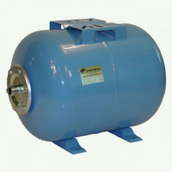 Гидроаккумулятор Джилекс 50 Г50 литров<br>Гидроаккумулятор 50 Г   элемент системы водоснабжения с насосом, который выполняет несколько функций. Данная модель имеет горизонтальную компоновку и объем 50 литров, что позволяет использовать ее в системах с поверхностными насосами.<br>Особенности оборудования 50 Г:<br><br>Мембраны, используемые в гидроаккумуляторах, можно заменять;<br>Назначение: накапливание воды под давлением, снижение вероятности гидроударов в системе, обеспечение запаса воды, предохраняет насосное оборудование от частого включения;<br>Гидроаккумулятор рекомендован для насосов мощностью выше 1000 Вт;<br>Выбор аккумулятора для воды зависит от мощности насоса,<br>Материал мембраны   каучук специального назначения (бутилкаучук);<br>На бак можно устанавливать насос   наличие креплений;<br>Для горизонтальной установки;<br>Предназначен для работы с чистой водой.<br><br>Гидроаккумуляторы выполняют важную роль в системах водоснабжения с электрическими насосами. Насосное оборудование, используемое для подачи воды, бывает различных типов, поэтому учитывая особенности работы насосов, гидроаккумуляторы также имеют различную конструкцию. К примеру, для поверхностных насосов часто используют горизонтальные гидробаки, на которых для удобства установки предусмотрены крепления для насоса. А вот для погружного насосного оборудования требуется больший объем бака, что обуславливается частотой его включения. <br><br><br>Страна: Россия<br>Производитель: Россия<br>Назначение: Для холодной воды<br>Установка: Горизонтальный<br>Объем бака, л: 50<br>Запас воды, л: None<br>Мембрана: Заменяемая<br>Цвет: Голубой<br>Рабочая темп., С: +1 до +35<br>Рабочее давление, бар: 2<br>Max давление, бар: 8<br>Габариты ВхШхГ, см: 375х350х540<br>Вес, кг: 8<br>Гарантия: 1 год<br>Ширина мм: 3500<br>Высота мм: 3750<br>Глубина мм: 5400