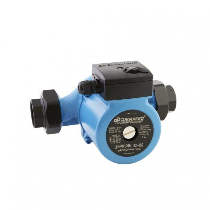 Циркуляционный насос Джилекс Циркуль 32/80Насосы для отопления<br>Циркуль 32/80   циркуляционный насос для установки на трубопровод с  мокрым  ротором от российского производителя компании Джилекс. Как и любое насосное оборудование, данная модель предназначена для искусственного побуждения циркуляции воды (теплоносителя). Только данная модель работает в закрытых системах отопления. Перемещая теплоноситель объем до 8 л/мин, насос развивает небольшое циркуляционное давление   максимальный напор составляет 8 м.<br>Особенности циркуляционного насоса серии  Циркуль :<br><br>Применяются для бытовых систем: отопления, горячего водоснабжения;<br>Высокая производительность;<br>Не предназначены для использования в  системах питьевого водоснабжения;<br>Типы перекачиваемых сред: вода, смеси с этиленгликолем;<br>Трехскоростной электромотор, ручное переключение скоростей;<br>Тип ротора  мокрый ;<br>Надежная защита от коррозии   корпус наоса изготовлен из чугуна;<br>Универсальность установки: монтаж возможен как на горизонтальном, так и на вертикальном участке трубопровода;<br>Экономия электроэнергия, а также снижение уровня шума достигается путем выбора пониженной скорости вращения;<br>В комплекте предусмотрены гайки для присоединения насоса к трубопроводу. <br><br>Современные системы отопления (или горячего водоснабжения) зачастую это сложные разветвленные сети, и доставить теплоноситель до всех отопительных приборов это задача циркуляционного насоса. Насос представленной серии устанавливается непосредственно на трубопровод и имеет небольшой размер, а благодаря тому, что ротор у насоса  мокрый  он имеет низкий уровень шума и вибрации (звук работающего ротора поглощается теплоносителем). Данный электронасос предназначен для бытового использования, поэтому может работать с теплоносителем (вода, этиленгликоль) с температурой до +110 0С. Из конструктивных особенностей серии  Циркуль  можно отметить, что насос изготавливается из чугуна (коррозионностойкий материал) и имеет 3 ступень 