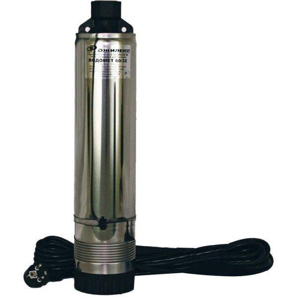 Погружной насос Джилекс ВОДОМЕТ 110/110Скважинные насосы<br>Электрический насос погружного типа  Водомет  110/110   оборудование для подачи воды из колодцев или скважин, но также может использоваться и в открытых водоемах. Диаметр погружного насоса марки  Водомёт  составляет 98 мм   уменьшить размеры оборудования позволило конструктивное решение: кабель электропитания выведен через верхнюю крышку. Это позволяет монтировать насос в скважину меньшего диаметра, и как следствие уменьшает затраты. <br>Особенности насосного оборудования серии  Водомет :<br><br>Электронасос погружной, тип: центробежный, многоступенчатый;<br>Для скважин с маленьким дебетом диаметром от 110 мм;<br>Может использоваться для подачи воды, которая содержит большое количество песка во взвешенном состоянии   до 50 г/м3;<br> Плавающее  рабочее колесо;<br>Большой гидравлический КПД;<br>Компактная конструкция   электродвигатель расположен над насосной частью;<br>Кабель электропитания выведен через верхнюю крышку питания   это уменьшает габариты насоса;<br>Прочная конструкция   применение высококачественных материалов, таких как керамики и графита (подшипники), полимеров (рабочее колесо, диффузоры);<br>Два уплотнения надежно изолирую части насоса от воздействия внешней среды и увеличивают срок службы насоса;<br>Насос может быть погружен в воду на глубину до 30 метров под зеркалом воды;<br>Возможность использования насоса в мелких водоемах частично погруженным   10-15 см;<br>Надежная защита от перегрева   электродвигатель омывается потоком воды;<br>Защита от перепадов напряжения и перегрузок по току;<br>Встроенный конденсатор упрощает монтаж насоса;<br>Термовыключатель вынесен за пределы маслонаполненной области;<br>Низкий уровень шума при работе насоса;<br>Срок эксплуатации   до 10 лет.<br><br>Погружные насосы  Водомёт  благодаря своей конструкции и особенностей используются не только в глубоких скважинах, но и прекрасно работают в открытых водоемах (в частично погруженном состоянии). Благодаря  плаваю