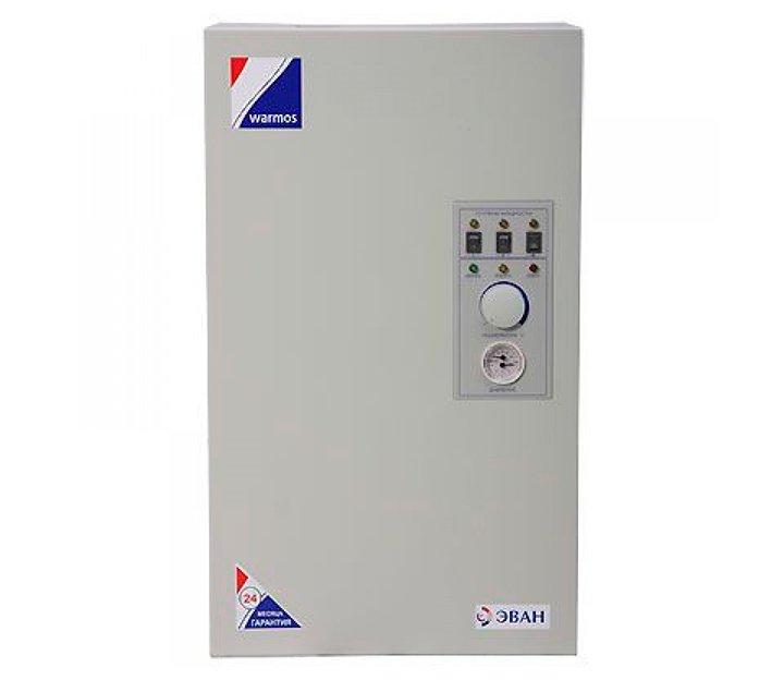 Котел Эван 7,5 Warmos-M6 кВт<br><br>     Электрический стационарный котел Эван ЭПО-1M-7,5 Warmos-M предназначен для обеспечения теплом производственных, административных, жилых и промышленных помещений, может использоваться как основной, так и резервный источник отопления. Котел оснащен тремя ступенями мощности, максимальная мощность прибора   7,5 кВт. Площадь отопления 75 квадратных метров. Прибор рекомендуется использовать в помещениях с естественной вентиляцией. Управление котлом осуществляется при помощи ручного регулятора температуры, расположенного на главной панели прибора. Там же расположены световые индикаторы работы прибора, позволяющие осуществлять четкий контроль работы системы.<br>Основные характеристики Эван ЭПО-1M-7,5 Warmos-M:<br><br>оригинальный дизайн;<br>высокая надежность и долговечность;<br>двойная защита от перегрева;<br>трехступенчатое изменение мощности; <br>возможность плавного регулирования температуры теплоносителя (от 0 до 120  С) в пределах каждой ступени мощности при давлении 0 4 бар;<br>возможность использования в системе  теплого пола ;<br>самовозвратная аварийная блокировка контроля температурного режима, не позволяющая температуре теплоносителя превысить 92 3  С, а при остывании включающая режим нагрева для предохранения системы от размораживания;<br>использование ТЭНов из нержавеющей стали;<br>световая индикация, позволяющая четко контролировать режим работы;<br>возможность установки в жилом помещении (благодаря расположению пульта управления и электрокотла в одном корпусе и выносному датчику регулирования температуры воздуха в помещении);<br>возможность поддержания температуры воздуха в помещении с помощью программируемого термостата, с недельной или суточной программами, который может быть удален на неограниченное расстояние (приобретается отдельно). <br><br>     Электрический стационарный котел Эван ЭПО-1M-7,5 Warmos-M оснащен колодкой для электрического подключения циркулярного насоса, манометром, датчиком минимального давления