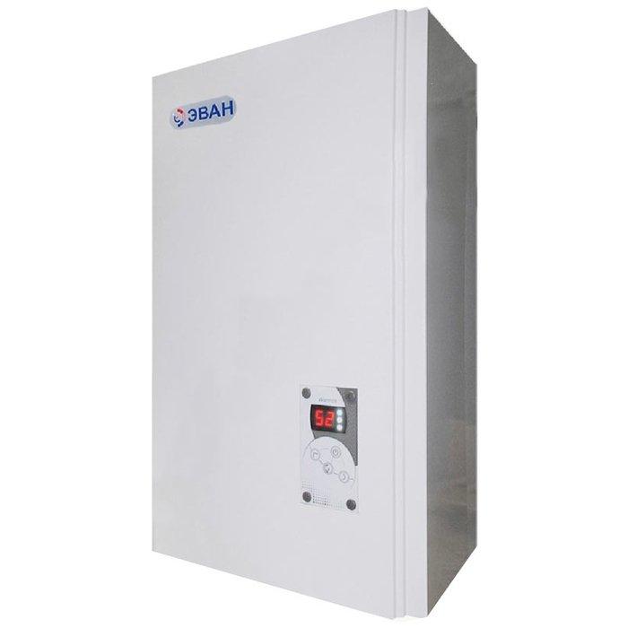 Котел Эван Warmos-IV-9,459 кВт<br>ЭВАН Warmos-IV-9,45   высокомощный электрический котел, предназначенный для эксплуатации на объектах жилого, общественного или промышленного типа. Агрегат прост в установке и оснащен удобной панелью управления с информационными индикаторами. Многоуровневая система защиты, представленная в данном оборудовании, гарантирует полную безопасность при использовании.<br>Особенности и преимущества электрических настенных отопительных котлов ЭВАН серии  Warmos-IV :<br><br>Модельный ряд с диапазоном мощности 3,75   30 кВт.<br>Возможность использования в качестве теплоносителя как воду, так и незамерзающие жидкости.<br>ТЭНы из нержавеющей стали производства Backer.<br>Контур независимого аварийного отключения.<br>Задание температуры теплоносителя с точностью до 1 градуса, в диапазоне от +5 до +85 C.<br>Расширение температурного диапазона от +5 до +85  C даёт возможность использования котла в режимах: тёплый пол и антизамерзание.<br>Возможность ограничения мощности котла. Три ступени   каждая ступень 1/3 мощности котла.<br>Временная задержка включения/выключения ступеней мощности.<br>Автоматический выбор необходимого количества ступеней для регулирования заданной температуры теплоносителя (благодаря замене механического термостата термодатчиком с электронной системой терморегулирования).<br>Световые индикаторы, отображающие всю необходимую информацию - отображение текущей температуры в диапазоне от 0 до +90  C.<br>При пуске котла при температурах ниже 0 (случай с незамерзающей жидкостью в системе), работоспособность котла сохраняется, на индикаторе высвечивается  -0 .<br>Режим  Управление котлом по температуре воздуха в помещении  отображается на индикаторе миганием точки.<br>Ротация ТЭН при каждом включении котла в режим  нагрев .<br>Колодка для подключения циркуляционного насоса и датчика температуры воздуха.<br>Стабильность работы при пониженном (до 160В) и повышенном (до 260В) напряжении<br>Индикация кодов аварийных ситуаций<br>КПД - 99%<br>