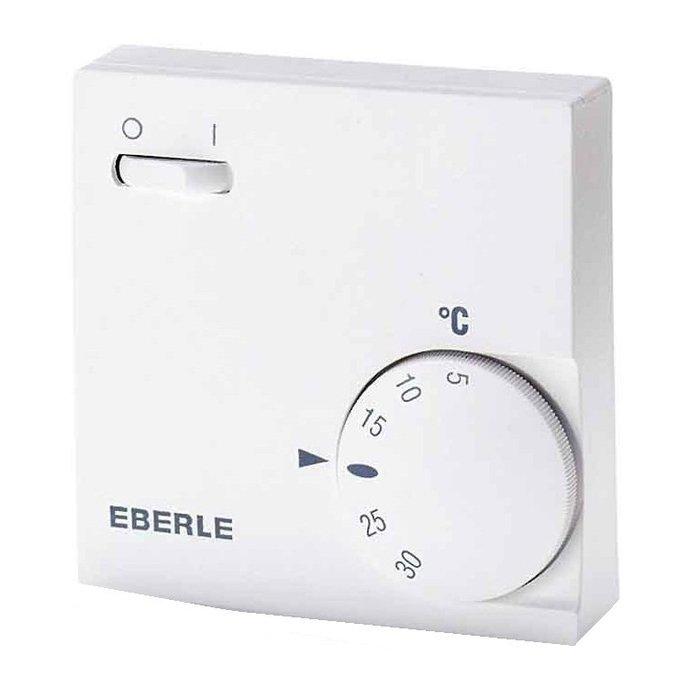 Механический терморегулятор ПИОН Eberle RTR-E 6163Аксессуары<br>Механический терморегулятор Eberle RTR-E 6163 идеально подходит для помещений с любыми условиями эксплуатации, отличается простым управлением и не нуждается в обслуживании. На устройстве размещена удобная кнопка, которая позволяет отключать и включать обогреватель. Терморегулятор не сложен в размещении и имеет минимальное число требований к месту установки.<br>Особенности и преимущества терморегулятора:<br><br>Термочувствительный элемент: Биметаллическая пластина<br>Максимально допустимая сила тока (мощность) подключаемых приборов: 16 А (3,5 кВт)<br>Регулируемая температура: от +5 С до +30 С<br>Точность:  1 С<br>Класс защиты: IP30<br>Габаритные размеры: 75 мм x 75 мм x 25,5 мм<br>Масса: ~100 г<br>Гарантия: 12 месяцев<br>Производитель: EBERLE (Германия)<br>Особенности: кнопка Вкл/Выкл<br><br>В нашем интернет-магазине покупатели найдут широкий модельный ряд аксессуаров для инфракрасных обогревателей от компании Пион. Это и кабели для подключения, и кронштейны, которые значительно облегчат процесс монтажа, и терморегуляторы, предназначение которых   сделать эксплуатацию обогревателей максимально комфортной и практичной.<br><br>Страна: Германия<br>Тип установки: Настенная<br>Мощность, кВт: None<br>Габариты, мм: 75x75x25,5<br>Гарантия: 1 год<br>Вес, кг: 1<br>Ширина мм: 75<br>Высота мм: 75<br>Глубина мм: 25.5
