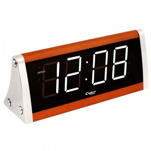 Часы без проекции Спектр СК 0090 С-БЧасы без проекции<br>Интерьерные настольные часы Спектр СК 0090 С-Б   это лаконичная и очень практичная в использовании модель из современного мира часов, которая отображает время с помощью цифровой индикации, а не аналоговым способом. Представленное изделие оснащено высокоточным кварцевым механизмом, который надежно защищен от вибраций и различных повреждений. Высокая функциональность достигается наличием в устройстве будильника.<br>Основные достоинства рассматриваемой модели настольных часов от компании Спектр:<br><br>Кварцевый механизм с цифровой индикацией на дисплее.<br>Точность хода с погрешностью не более +/-20 секунд в месяц.<br>Будильник.<br>Автоматическое повторение сигнала будильника (snooze). Если включена функция повтора сигнала будильника, то будильник снова сработает примерно через 8 - 9 минут после отключения. Можно отключить эту функцию.<br>Регулировка громкости звучания сигнала в двух позициях.<br>Регулировка яркости индикации. С помощью переключателя можно отрегулировать яркость отображения времени. Положение + - более яркое, положение - - стандартная яркость свечения.<br>Формат времени 24 ч.<br>Будильник имеет аварийное батарейное питание от батарейки 9В. В случае сбоя энергоснабжения питание от батарейки сохранит текущие установки времени и будильника.<br><br>Настольные часы от торговой марки Спектр   это огромная линейка всевозможных современных моделей с различным дизайнерским решением и функционалом, которые могут заинтересовать самую разную аудиторию. Модели от данного производителя отличаются высоким качеством сборки, компактными размерными характеристиками, простой и современностью.<br><br>Страна: Россия<br>Питание, В: Сеть/Бат.<br>Тип батарейки: КРОНА<br>Колво батареек: 1<br>Адаптер к 220В: Есть<br>С будильником: Да<br>Радиодатчик: Нет<br>С метеостанцией: Нет<br>В помещении t, С: Нет<br>За окном t, С: Нет<br>Влажность в помещении: Нет<br>Влажность за окном: Нет<br>Давление: Нет<br>Прогноз погоды: Нет<br