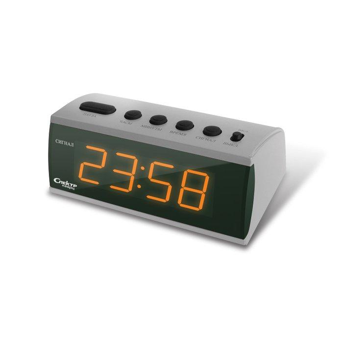 Часы без проекции СпектрЧасы без проекции<br>Лаконичные настольные часы с цифровой индикацией времени Спектр СК 1215 Ш(Д)-О имеют простое управление основными функциями и очень приятны в использовании. Представленная модель выполнена из приятного и качественного пластика, имеющего привлекательную цветовую гамму. Производитель заботливо предусмотрел наличие будильника, который повторяет свой сигнал спустя несколько минут.<br>Основные достоинства рассматриваемой модели настольных часов от компании Спектр:<br><br>Кварцевый механизм высокой точности.<br>Будильник.<br>Автоматическое повторение сигнала будильника (snooze). Если включена функция повтора сигнала будильника, то будильник снова сработает примерно через 8 - 9 минут после отключения. Можно отключить эту функцию.<br>Формат времени 24 ч.<br>Питание от сети.<br><br>Настольные часы от торговой марки Спектр   это огромная линейка всевозможных современных моделей с различным дизайнерским решением и функционалом, которые могут заинтересовать самую разную аудиторию. Модели от данного производителя отличаются высоким качеством сборки, компактными размерными характеристиками, простой и современностью. <br><br>Страна: Россия<br>Питание, В: Сеть/Бат.<br>Тип батарейки: КРОНА<br>Колво батареек: 1<br>Адаптер к 220В: Есть<br>С будильником: Да<br>Радиодатчик: Нет<br>С метеостанцией: Нет<br>В помещении t, С: Нет<br>За окном t, С: Нет<br>Влажность в помещении: Нет<br>Влажность за окном: Нет<br>Давление: Нет<br>Прогноз погоды: Нет<br>Габариты, мм: 145x70x105<br>Вес, кг: 1<br>Гарантия: 1 год<br>Ширина мм: 70<br>Высота мм: 145<br>Глубина мм: 105