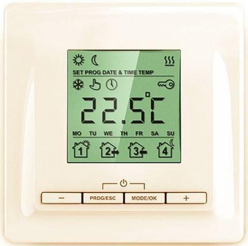 Терморегулятор для теплого пола ТеплолюксТерморегуляторы<br>ТР 520 кремовый   регулятор температуры который позволяет управлять работой теплого пола. Электронный терморегулятор ТР 520 поддерживает функцию программирования, благодаря которой можно добиться снижения потребления электроэнергии   пользовать может задавать температуру обогреваемой поверхности в различных запрограммированных событиях (например,  уход из дома ). Информация в текущий момент времени отображается на графическом дисплее, установка осуществляется кнопками, предусмотрена блокировка. Терморегулятор серии ТР 520 имеет 3 режима работы, программный режим включает четыре созданных события.<br>Основные характеристики терморегулятора Теплолюкс серии ТР 520 кремовый:<br><br>Современный дизайн, корпус кремового цвета;<br>Наличие графического дисплея;<br>Тип   электронный, программируемый;<br>Назначение   управление работой обогревательных систем;<br>Экономия электроэнергии;<br>Четыре заданных алгоритма работы в программном режиме:  подъем ,  уход из дома ,  возвращение домой ,  отбой ;<br>Режимы работы: программный, постоянное поддержание, антизамерзание;<br>Диапазон температурного регулирования от +50 до +350С;<br>Функция блокировки;<br>Класс защиты IP20;<br>Выносной датчик пола и сенсорный кабель длиной 2 метра входит в комплект;<br>Монтаж настенный.<br><br><br>Страна: Россия<br>Мощность, кВт: 3,5<br>Канальная мощность, кВт: None<br>Длина, м: 2,0<br>Программирование: да<br>Площадь, м?: None<br>Управление: электронное<br>Функция защиты от перегрева: None<br>Тип кабеля: None<br>Размер, мм: 86х86х35<br>Напряжение, В: None<br>Вес, кг: 1<br>Гарантия: 3 года<br>Ширина мм: 86<br>Высота мм: 86<br>Глубина мм: 35