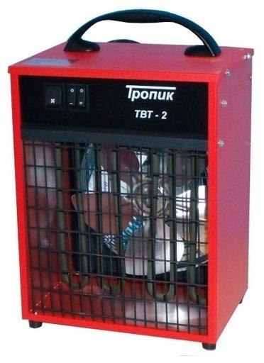 Тепловая пушка Тропик ТВТ-22 кВт<br>Это экономичная серия мобильных малых тепловентиляторов, предназначенных для нагрева воздуха в небольших помещениях, при необходимости частой переноски, а также в местах с ограниченной площадью, доступной для размещения тепловентилятора.<br>Отличия серии ТВТ от серии ТПЦ заключаются в ряде мер, позволяющих снизить стоимость тепловентилятора небольшой мощности для потребителя, а также облегчить частую его переноску и уменьшить площадь, необходимую для его размещения:<br><br><br>на серии ТВТ применены пластиковая ручка для переноски и небольшие ножки-подставки (в отличие от выступающих за габариты корпуса трубчатых ручек-подставок ТПЦ)<br><br><br>на серии ТВТ используются кнопочные переключатели (вместо роторного переключателя режимов у серии ТПЦ)<br><br><br>на серии ТВТ отсутствует терморегулятор (входящий в стандартную комплектацию ТПЦ)<br>КонструкцияСтальной корпус прибора с обеих сторон покрыт антикоррозионным полимерным покрытием, что гарантирует его прочность и длительность эксплуатации.<br>В качестве нагревательных элементов применены импортные ТЭНы, что по сравнению со спиральными проволочными нагревателями увеличивает срок службы, устраняет пожароопасность и не понижает содержания кислорода в окружающем воздухе. ТЭН выполнен из бесшовной трубки из нержавеющей стали и оптимально работает в любом из режимов:- вентилятор- вентилятор + частичный нагрев - вентилятор + полная мощность.<br>Специально разработанная конфигурация лопастей крыльчатки вентилятора обеспечивает максимальный воздушный поток . Передние и задние вентиляционные решетки предотвращают случайное касание рукой или пальцами горячих ТЭНов и вращающейся крыльчатки, а также попадание в эти зоны посторонних предметов.<br>Тепловентиляторы оснащены специальной системой тепловой защиты (биметаллический термостат), которая разрывает электрическую сеть в случае аварийной ситуации и устраняет возможность перегрева<br>Отличительные особенности:<br><br>удобная система управл