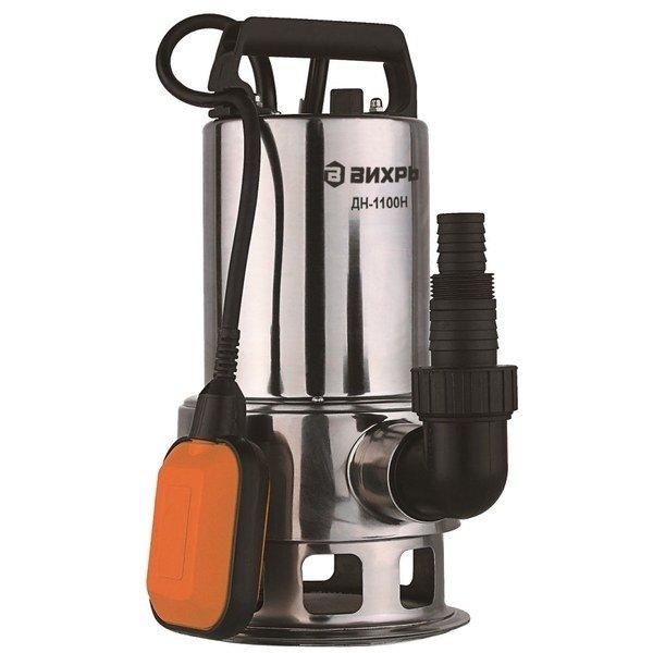 Дренажный насос Вихрь ДН-1100НДренажные насосы<br>Погружной насос Вихрь ДН-1100Н применяется для откачивания воды, содержащей различные примеси и подходит для использования на промышленных и на жилых участках. Высокопрочный стальной корпус рассматриваемого изделия обеспечивает его улучшенную защиту от различных внешних воздействия; оборудование может долгое время безопасно использоваться в воде и имеет эффективную изоляцию.<br>Особенности и преимущества насосов Вихрь представленной серии:<br><br>Поплавковый выключатель - автоматическая работа дренажного насоса Вихрь ДН-300 68/2/6;<br>Ударопрочный корпус из пластика;<br>Максимальная глубина всасывания до 8 м;<br>Патрубок универсального размера для подсоединения различных шлангов;<br>Ручка для переноски.<br><br>Дренажные насосы Вихрь предназначены для работы с чистой или загрязненной водой, отличаются высокой эффективностью энергопотребления и отлично защищены от внешнего воздействия. Представленное оборудование может применяться на промышленных или бытовых объектах; для комфортной эксплуатации модели снабжены автоматикой и самостоятельно начинают работу при повышении уровня воды.&amp;nbsp;<br><br>Страна: Россия<br>Производитель: Китай<br>Качество воды: Грязная<br>Производительность, л/мин: 258<br>Max напор, м: 8<br>Max глубина погружения, м: None<br>Мощность, Вт: 1100<br>Напряжение сети, В: 220 В<br>Длина кабеля, м: None<br>Защита от сухого хода: Да<br>Материал корпуса: Нержавеющая сталь<br>диаметр подсоединения, дюйм: 1 1/2<br>Max темп. жидкости, С: 35<br>Класс защиты: Нет<br>Габариты ВхШхГ, см: 39.9x20x10<br>Вес, кг: 3<br>Гарантия: 1 год<br>Ширина мм: 200<br>Высота мм: 399<br>Глубина мм: 100