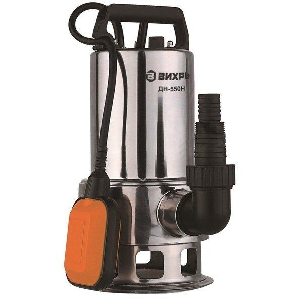 Дренажный насос Вихрь ДН-550НДренажные насосы<br>Модель Вихрь ДН-550Н представляет собой недорогой и производительный дренажный насос, предназначенный для погружения прямо в резервуар, наполненный водой. Прочное и качественное исполнение обеспечивает долговечность и безопасность рассматриваемого изделия, а современная комплектация позволяет эксплуатировать его с наибольшим комфортом для пользователей.<br>Особенности и преимущества насосов Вихрь представленной серии:<br><br>Поплавковый выключатель - автоматическая работа дренажного насоса Вихрь ДН-300 68/2/6;<br>Ударопрочный корпус из пластика;<br>Максимальная глубина всасывания до 8 м;<br>Патрубок универсального размера для подсоединения различных шлангов;<br>Ручка для переноски.<br><br>Дренажные насосы Вихрь предназначены для работы с чистой или загрязненной водой, отличаются высокой эффективностью энергопотребления и отлично защищены от внешнего воздействия. Представленное оборудование может применяться на промышленных или бытовых объектах; для комфортной эксплуатации модели снабжены автоматикой и самостоятельно начинают работу при повышении уровня воды.&amp;nbsp;<br><br>Страна: Россия<br>Производитель: Китай<br>Качество воды: Грязная<br>Производительность, л/мин: 167<br>Max напор, м: 8<br>Max глубина погружения, м: 8<br>Мощность, Вт: 550<br>Напряжение сети, В: 220 В<br>Длина кабеля, м: None<br>Защита от сухого хода: Да<br>Материал корпуса: Нержавеющая сталь<br>диаметр подсоединения, дюйм: 1 1/2<br>Max темп. жидкости, С: 35<br>Класс защиты: Нет<br>Габариты ВхШхГ, см: 39x22x18<br>Вес, кг: 6<br>Гарантия: 1 год<br>Ширина мм: 220<br>Высота мм: 390<br>Глубина мм: 180