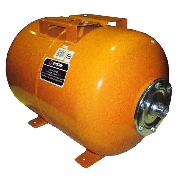 Гидроаккумулятор Вихрь ГА-5050 литров<br>Гидроаккумулятор модели Вихрь ГА-50 эффективно используется вместе с поверхностными или скважинными насосами на участках преимущественного жилого типа и позволяет накапливать некоторый объем воды, что ведет за собой уменьшение числа включений установленного насоса, тем самым увеличивается срок его эксплуатации. Устройство долговечно, бесшумно и не требует обслуживания.<br>Особенности и преимущества гидроаккумуляторов Вихрь представленной серии:<br><br>Температура воды - от 0 до +45 0С;<br>Необходимое давление воздуха - 2 атм.;<br>Максимальное давление воды   6-8 атм. (в зависимости от модели).<br><br>Продлить срок службы насоса и повысить комфорт его использования удастся с установкой передовых гидроаккумуляторов Вихрь. Рассматриваемое оборудование служит для накапливания выкаченной воды и стабилизации напора; при выборе модели важно учитывать характеристики используемого на участке насоса, это позволит добиться максимальной эффективности и стабильности систем водоснабжения.<br><br>Страна: Россия<br>Производитель: Китай<br>Назначение: Для холодной воды<br>Установка: Горизонтальный<br>Объем бака, л: 50<br>Запас воды, л: None<br>Мембрана: Нет<br>Цвет: Оранжевый<br>Рабочая темп., С: 0...+45<br>Рабочее давление, бар: None<br>Max давление, бар: 8<br>Габариты ВхШхГ, см: 40x56x33<br>Вес, кг: 7<br>Гарантия: 1 год<br>Ширина мм: 560<br>Высота мм: 400<br>Глубина мм: 330