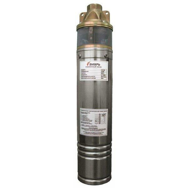 Погружной насос Вихрь СН-50Скважинные насосы<br>Вихрь СН-50   это высокотехнологичный и высокопроизводительный скважинный котел бытового типа, рассчитанный на использование в системах водоснабжения, домов, дач или производственных объектов. Представленное устройство может эффективно применяться только для перекачивания чистой воды, не содержащей примесей; конструкция исполнена из прочных материалов.<br>Особенности и преимущества насосов Вихрь представленной серии:<br><br>Отверстия в крышке насоса - для крепления троса;<br>Подъем воды на высоту до 135 метров;<br>Материал насосной части - пластик;<br>Предназначен для длительной работы.<br><br>Скважинные вертикальные насосы Вихрь предназначенные для погружения в воду с целью перекачивания ее для систем водоснабжения бытового или промышленного назначения. Представленные в серии модели отличаются долговечностью и надежностью конструкции, компактным исполнением и полной бесшумностью в работе. Оборудование выполнено из качественных материалов.<br><br>Страна: Россия<br>Производитель: Китай<br>Производ. л/мин: 40<br>Max глубина погружения, м: 60<br>Мощность, Вт: 750<br>Напряжение сети, В: 220 В<br>Длина кабеля, м: 20<br>Max напор, м: 50<br>Защита от сухого хода: Нет<br>Материал корпуса: Нержавеющая сталь<br>диаметр подсоединения, дюйм: 1<br>Max темп. жидкости, С: 35<br>Наличие обратного клапана: Есть<br>Класс защиты: IPX8<br>Качество воды: Чистая<br>Габариты ВхШхГ, см: 20x10x10<br>Вес, кг: 14<br>Гарантия: 1 год<br>Ширина мм: 100<br>Высота мм: 200<br>Глубина мм: 100